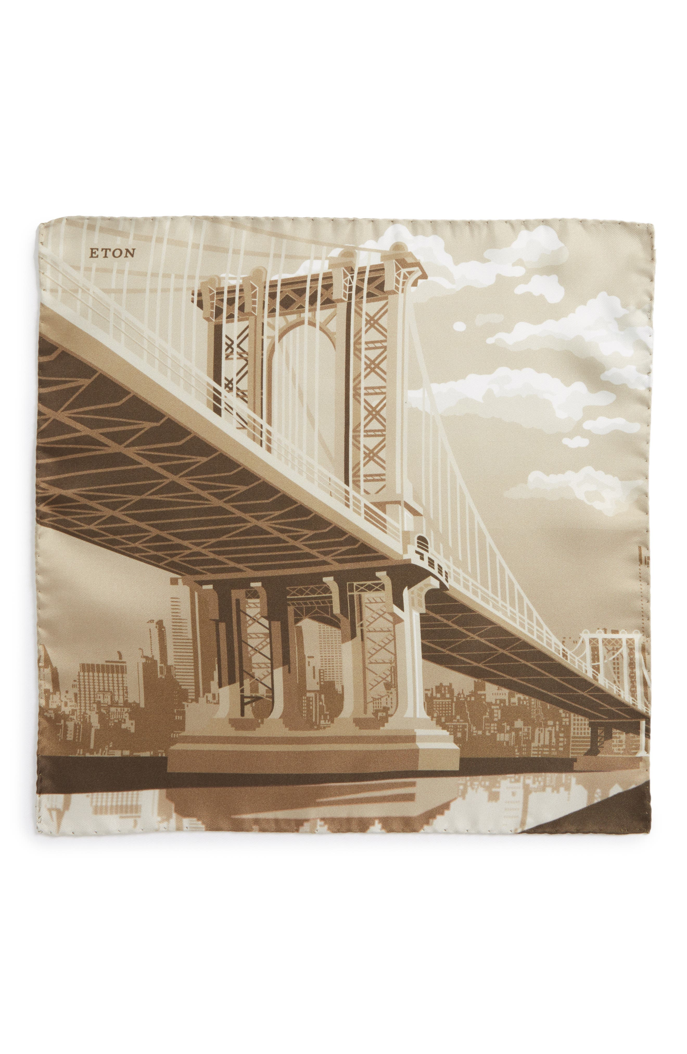 Manhattan Bridge Silk Pocket Square,                             Alternate thumbnail 2, color,                             Brown