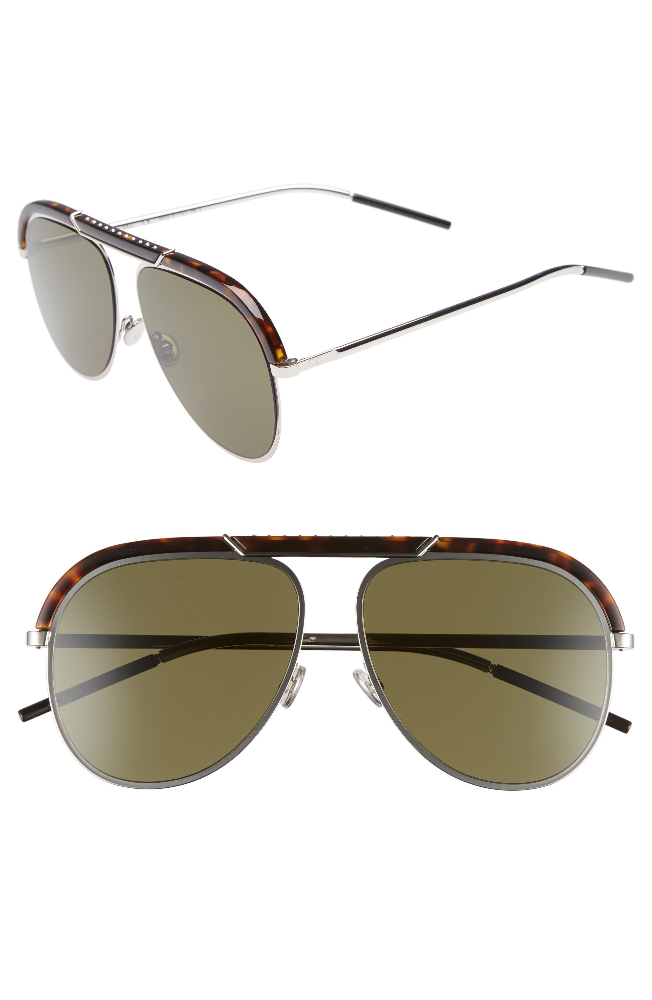 Christian Dior Desertics 58mm Metal Aviator Sunglasses