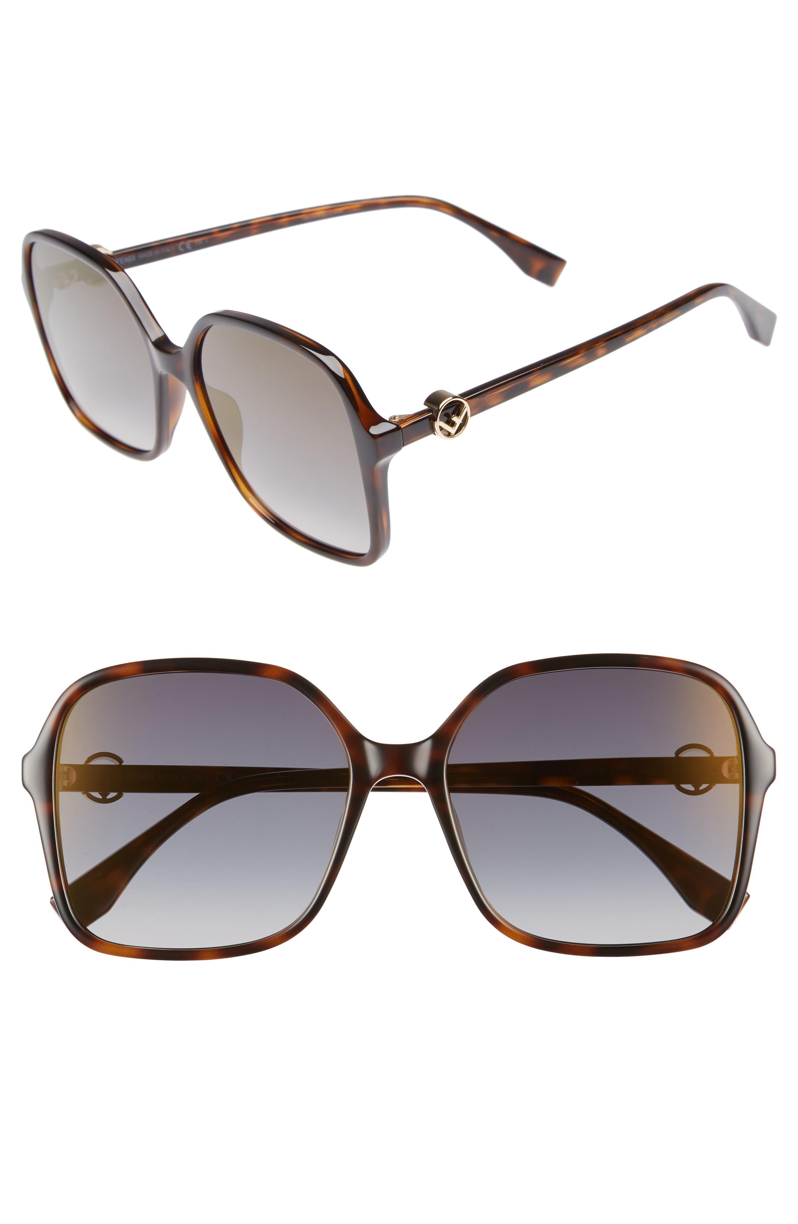58mm Square Sunglasses,                             Main thumbnail 1, color,                             Dark Havana