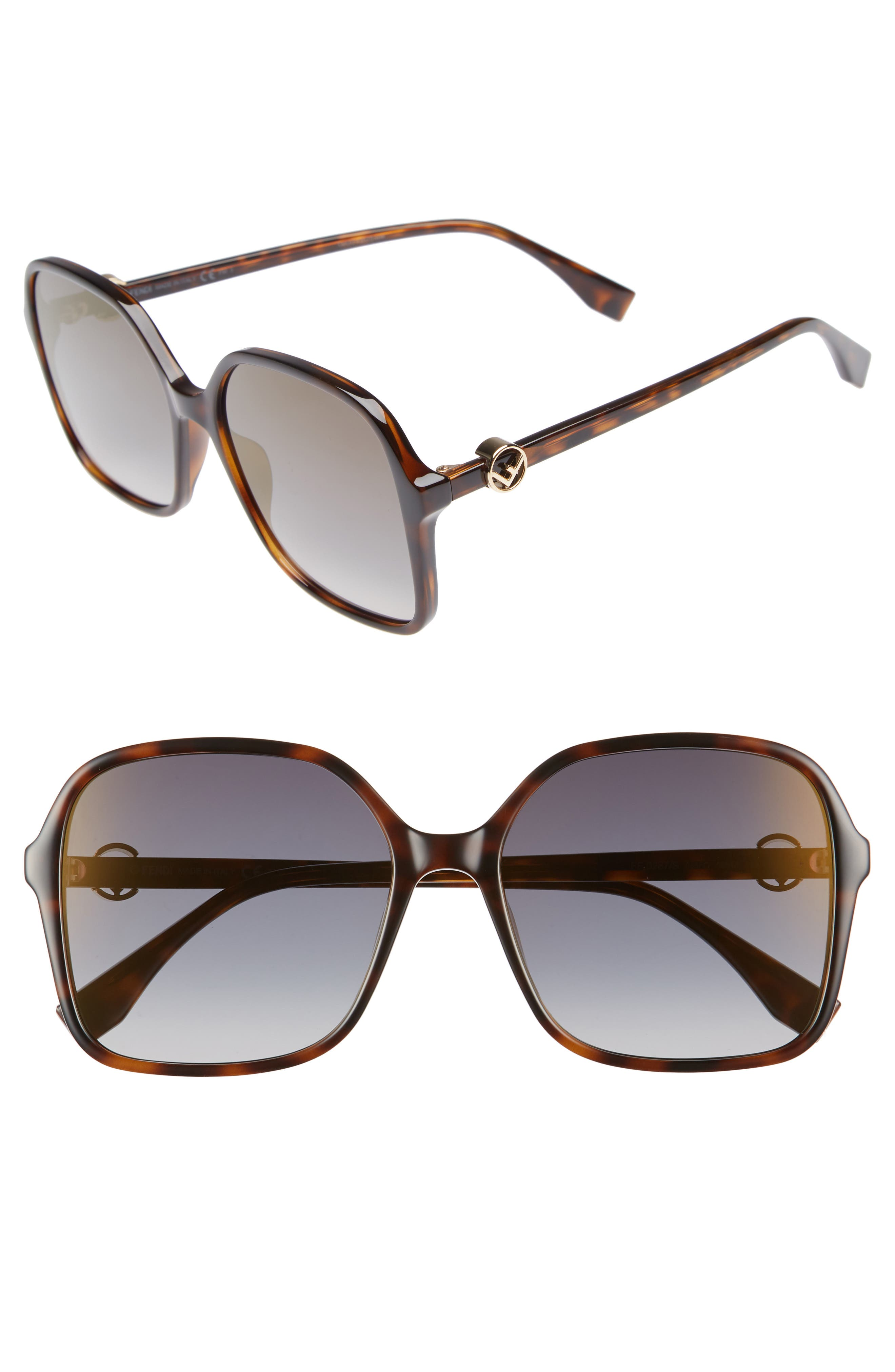 58mm Square Sunglasses,                         Main,                         color, Dark Havana