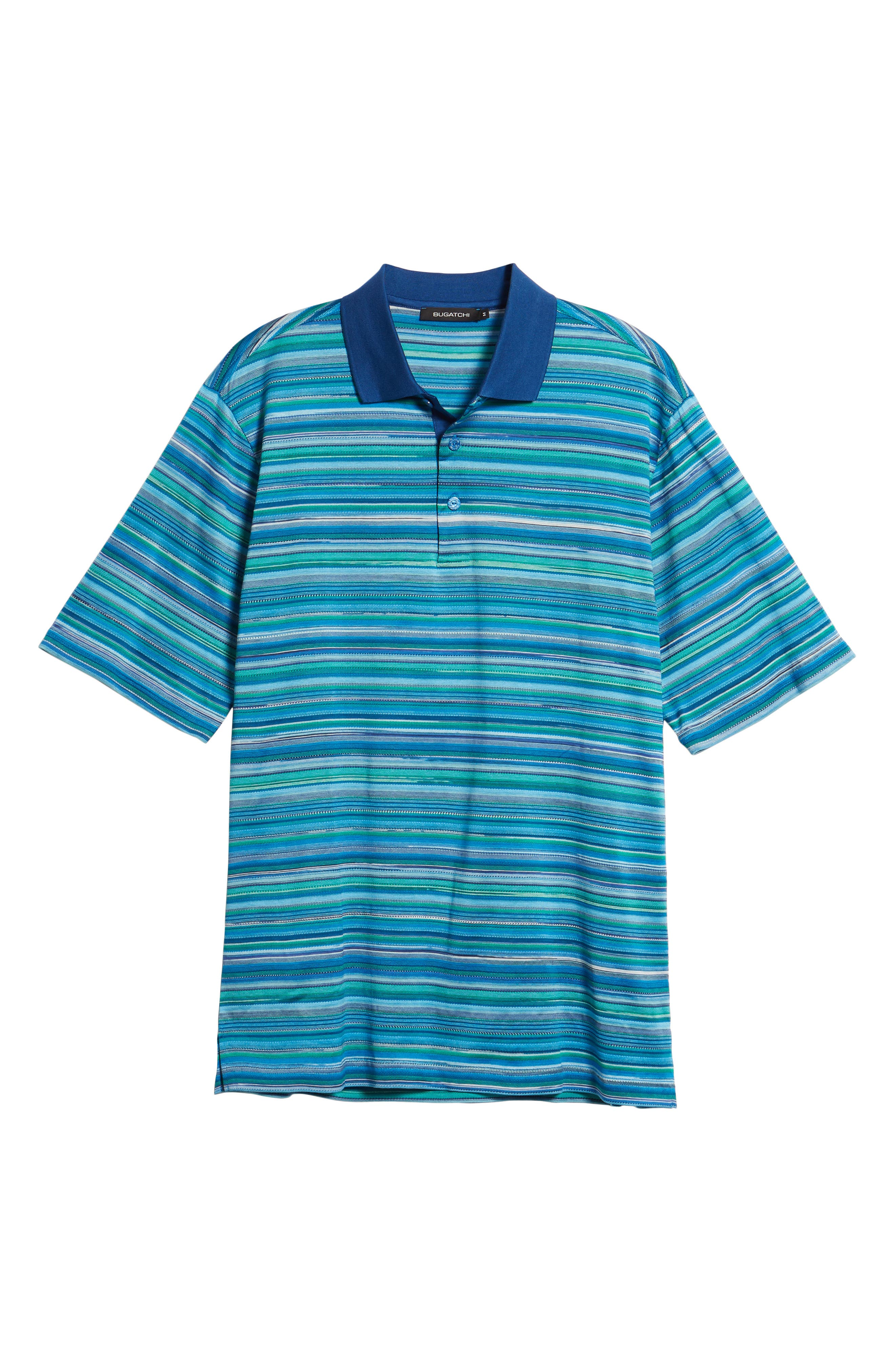 Stripe Mercerized Cotton Polo,                             Alternate thumbnail 6, color,                             Paradise