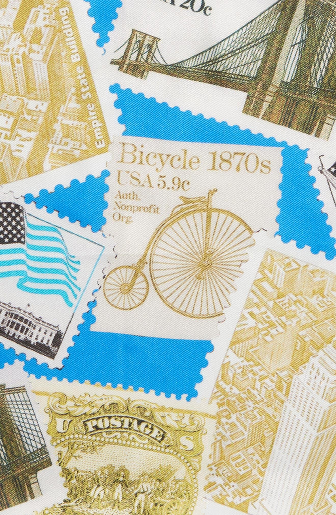 New York Stamp Silk Pocket Square,                             Alternate thumbnail 3, color,                             Blue