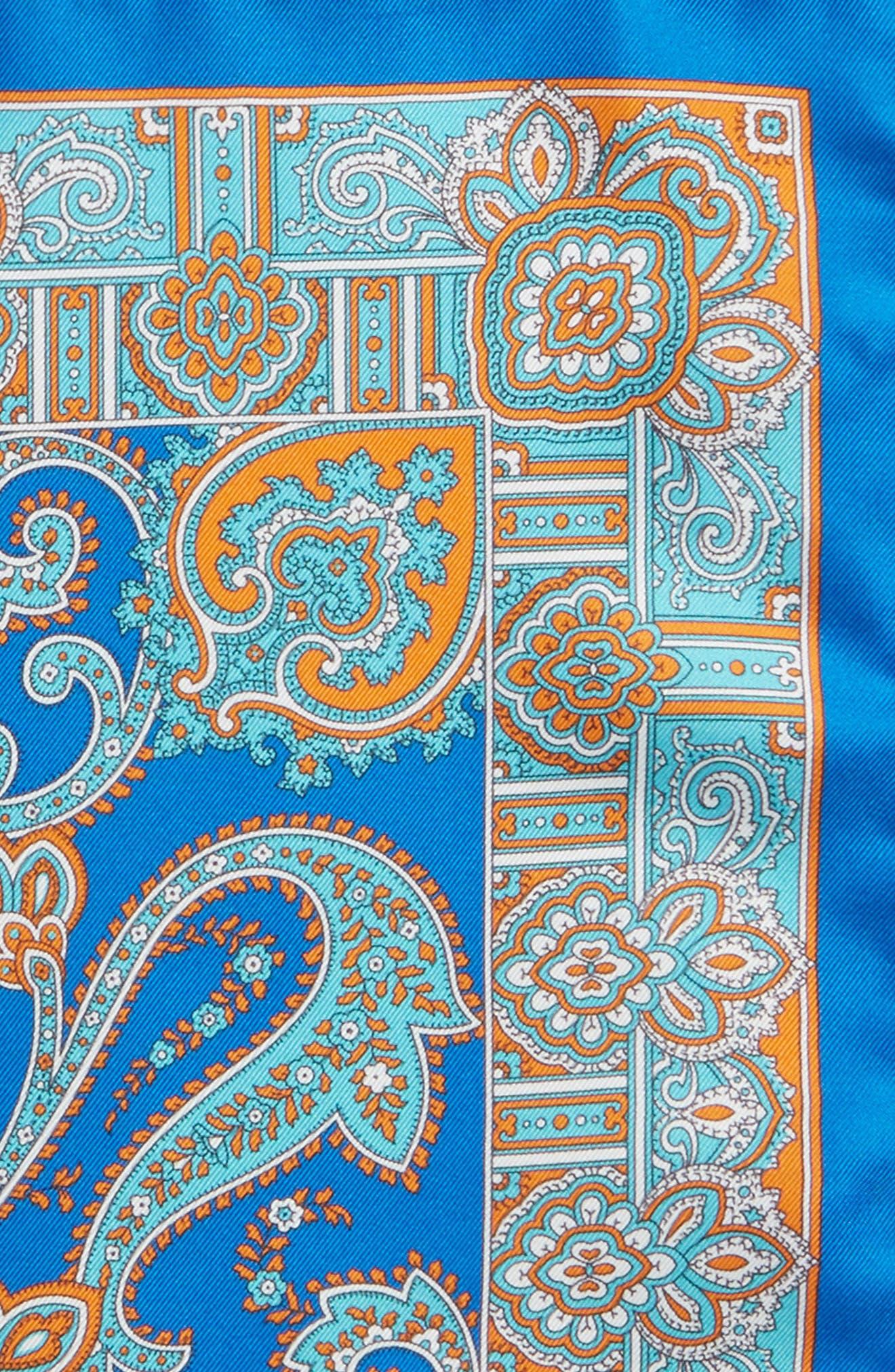 Paisley Silk Pocket Square,                             Alternate thumbnail 3, color,                             Blue