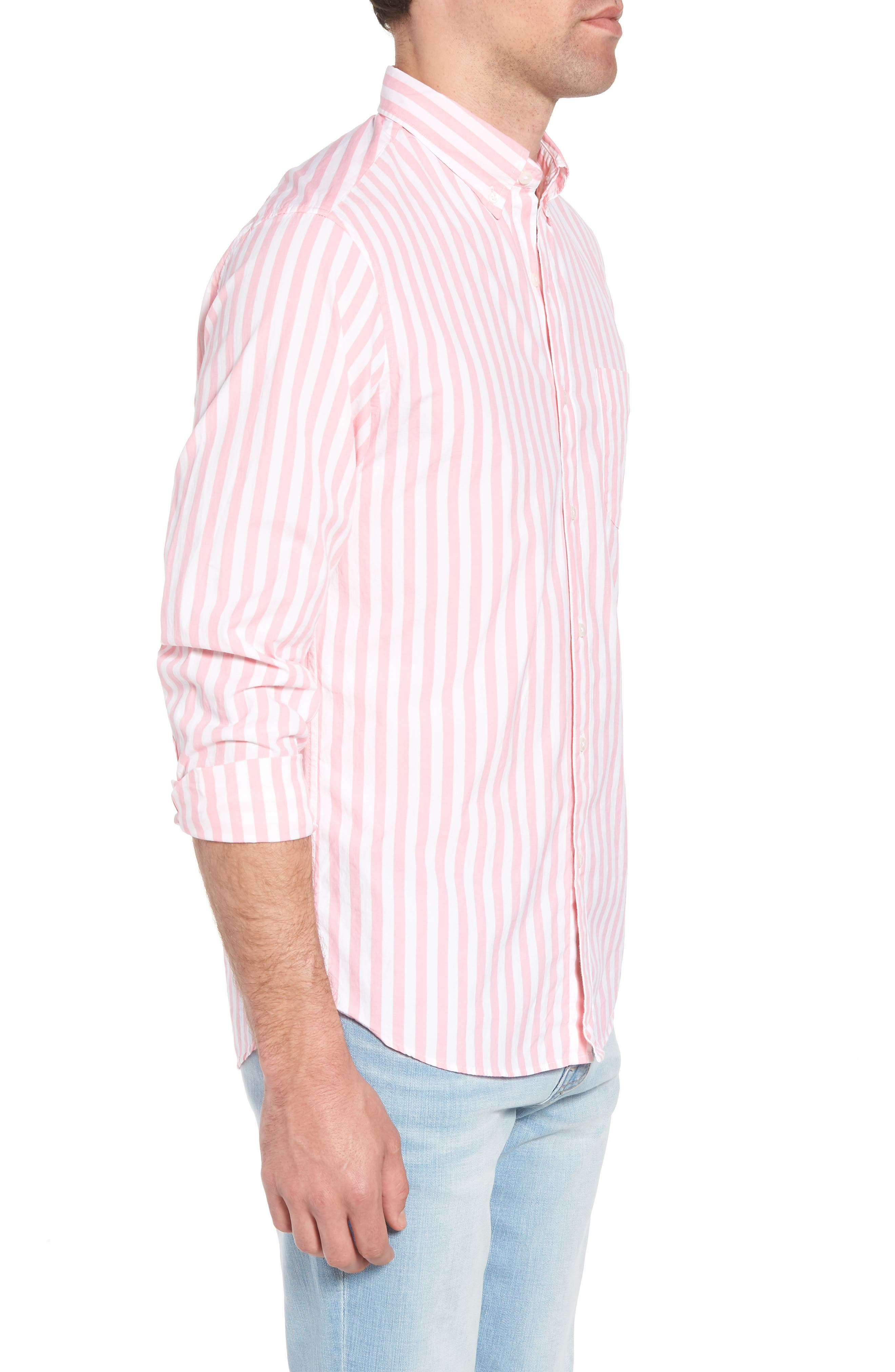Slim Fit Stretch Secret Wash Stripe Sport Shirt,                             Alternate thumbnail 4, color,                             Azalea