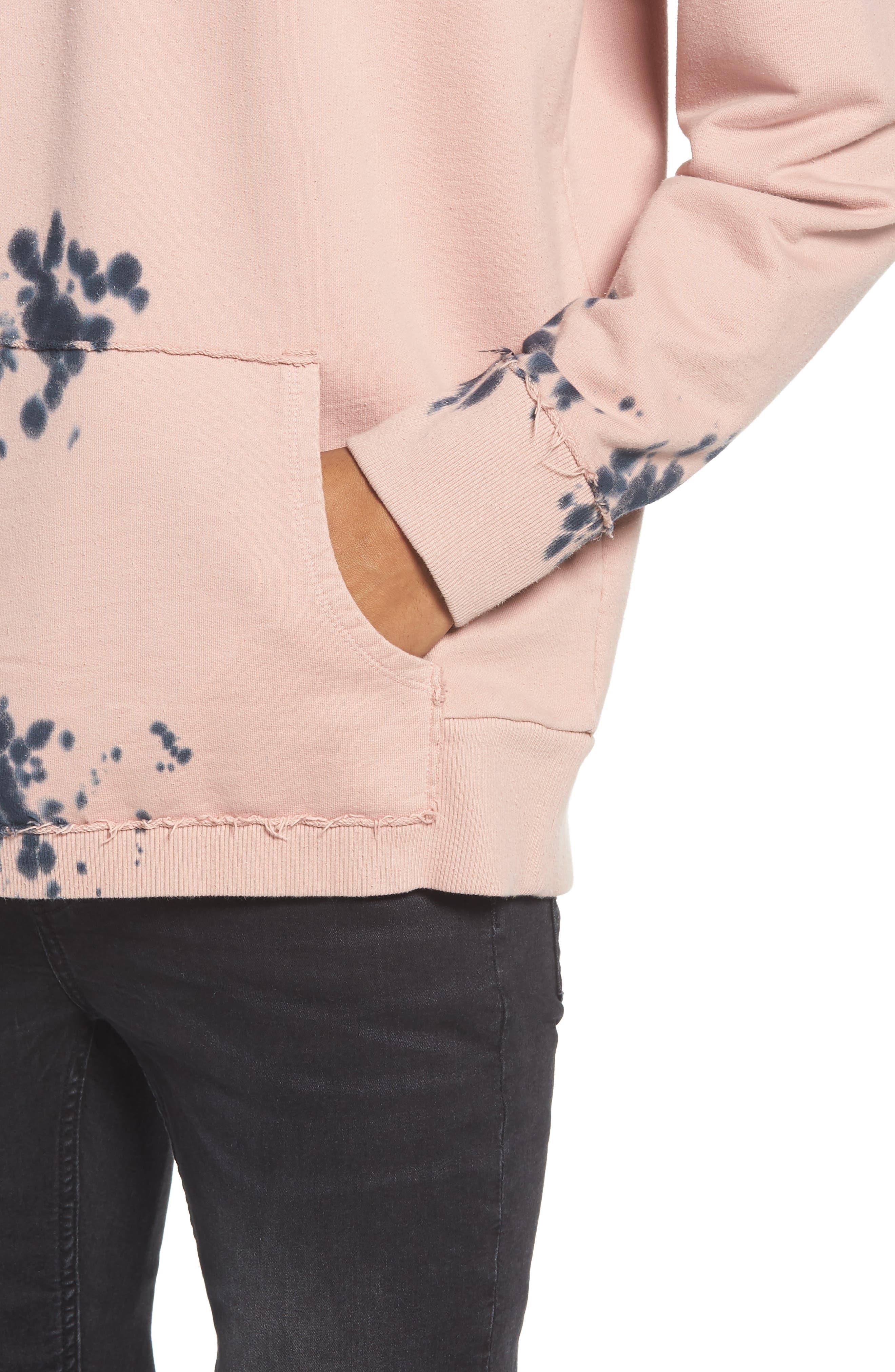 Blotch Tie Dye Terry Hoodie,                             Alternate thumbnail 4, color,                             Pink Silver Navy Blotch Dye