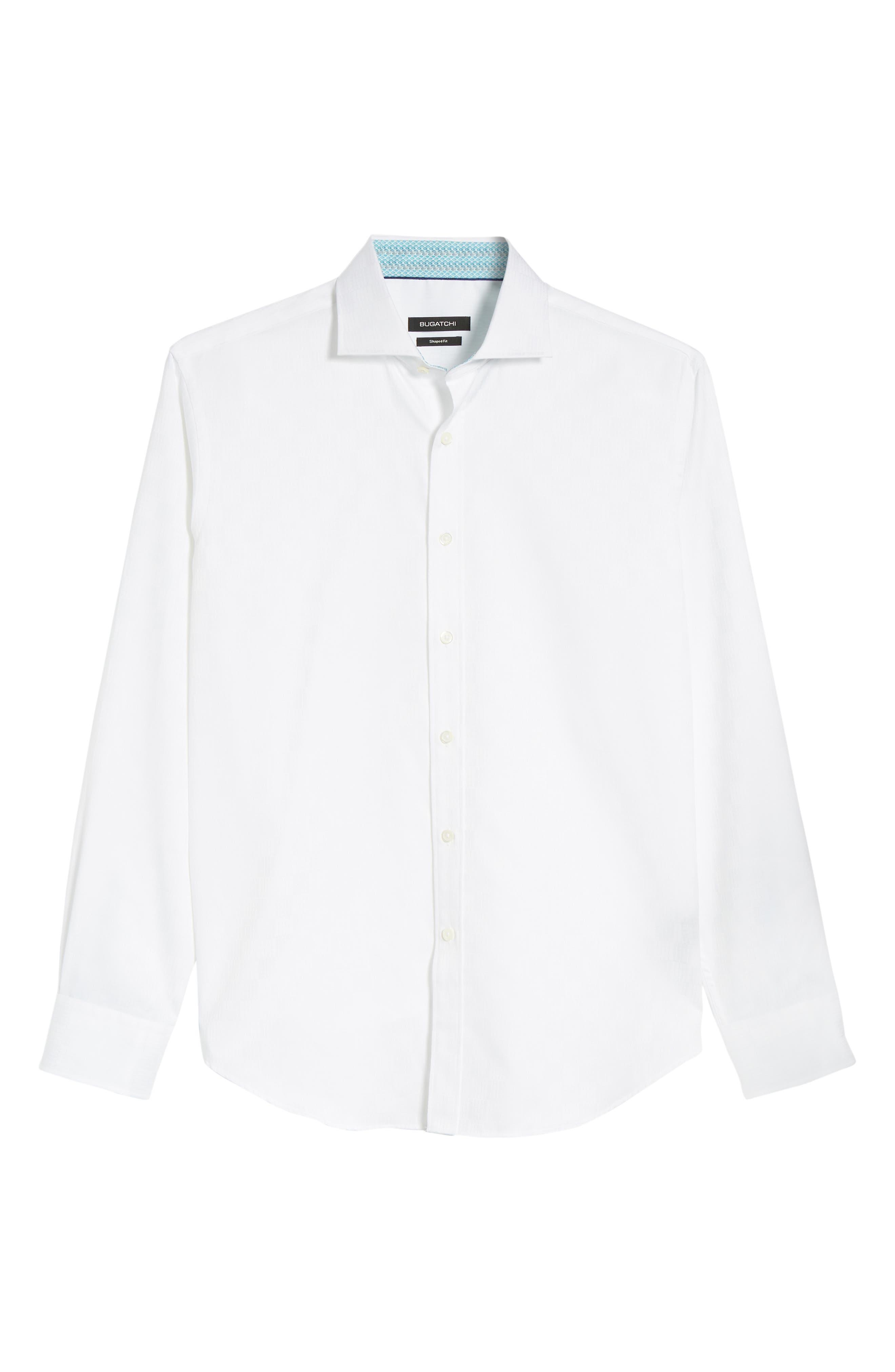 Shaped Fit Sport Shirt,                             Alternate thumbnail 6, color,                             White