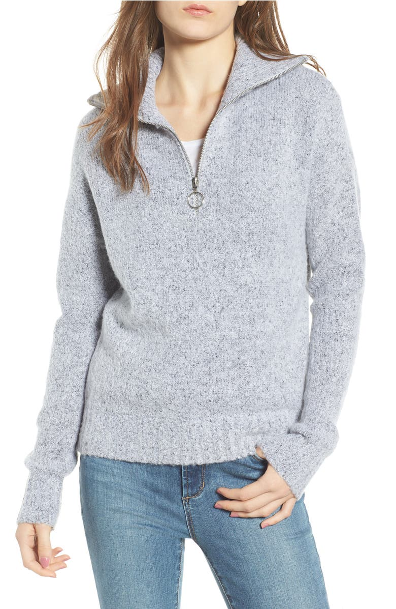 Quarter Zip Sweater,                         Main,                         color, Heather Grey