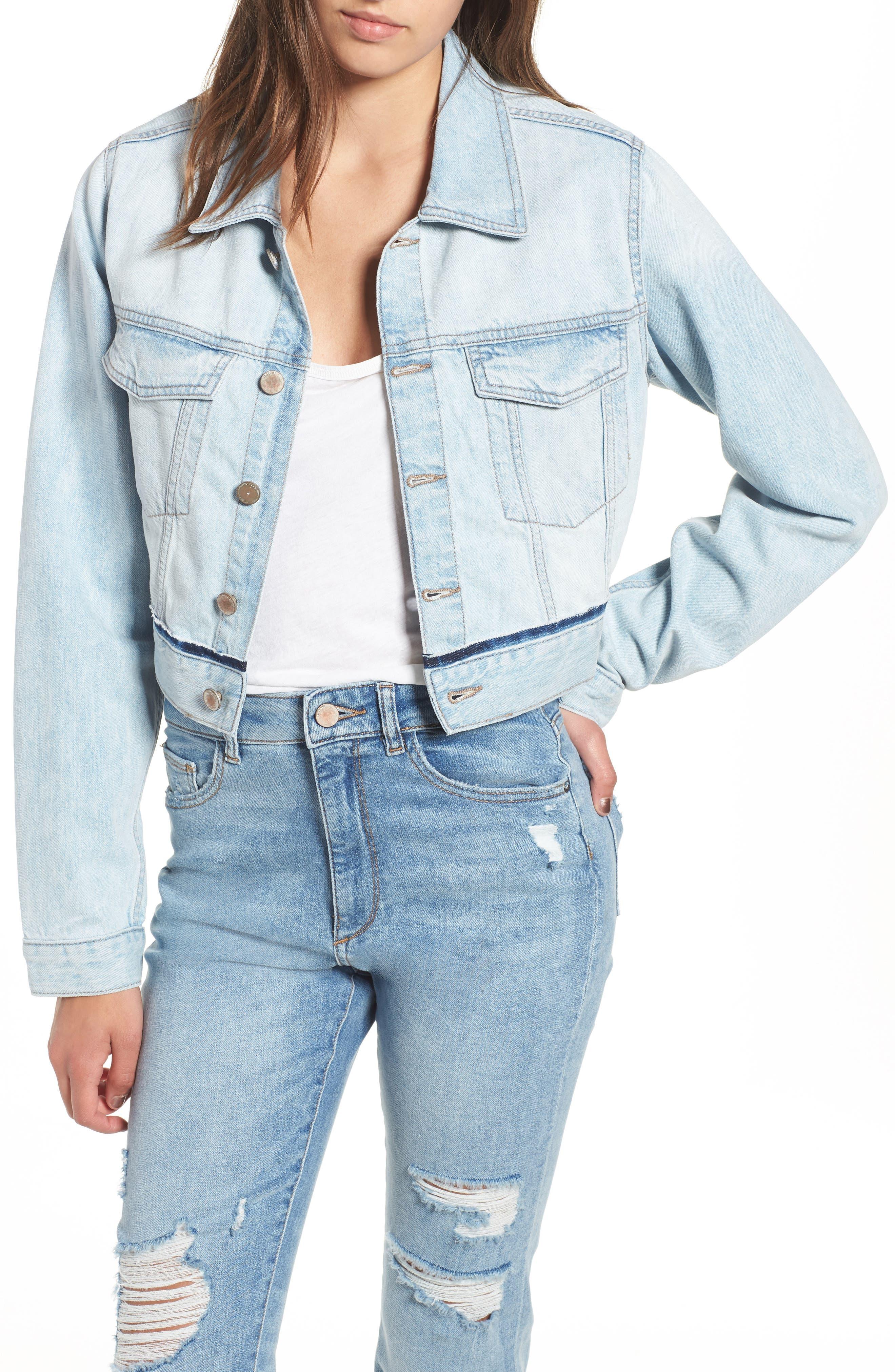 Shawn Crop Boyfriend Denim Jacket,                         Main,                         color, Graceland