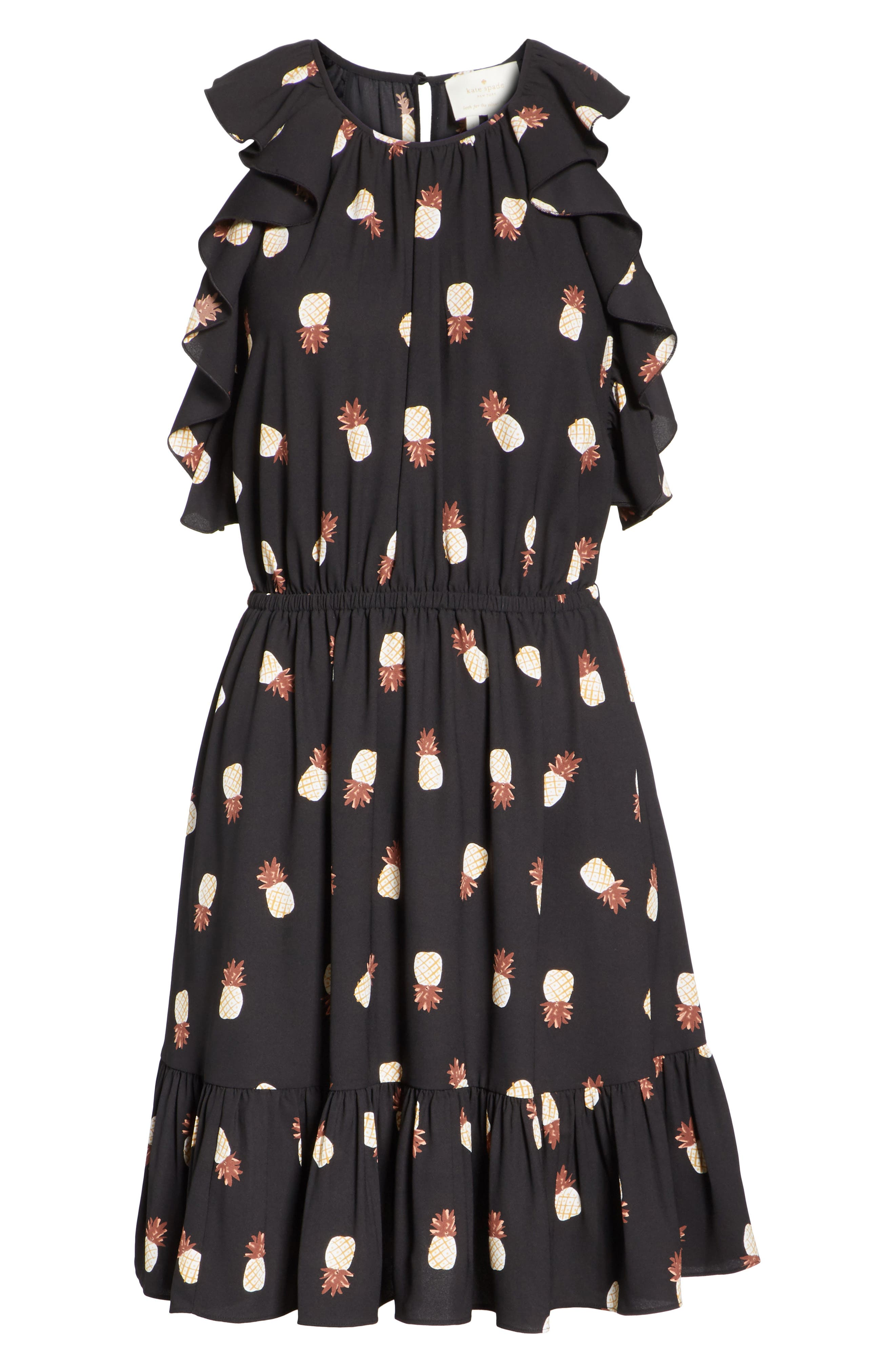 pineapple ruffle dress,                             Alternate thumbnail 6, color,                             Black