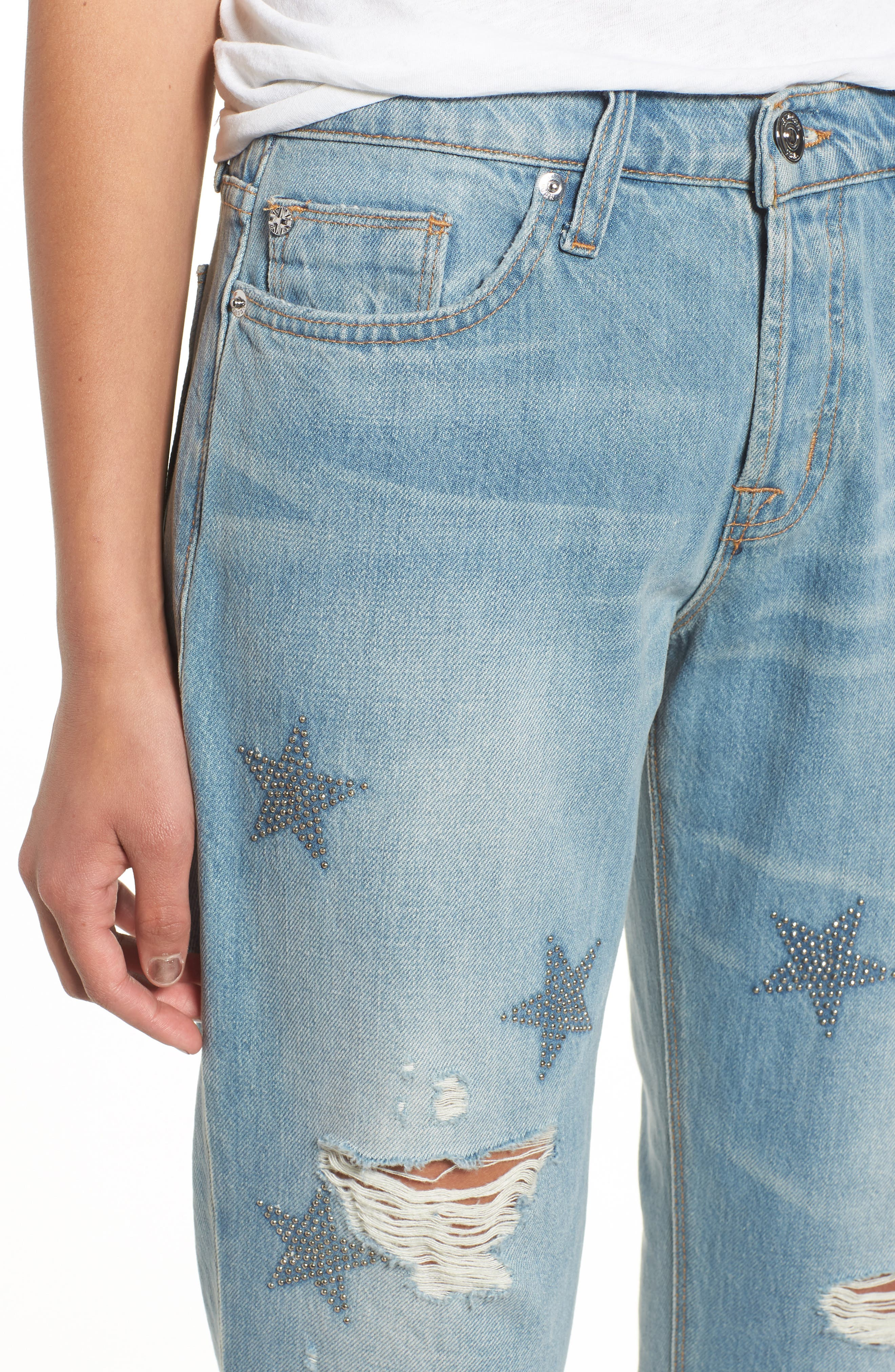 Riley Crop Relaxed Straight Leg Jeans,                             Alternate thumbnail 4, color,                             Amplify