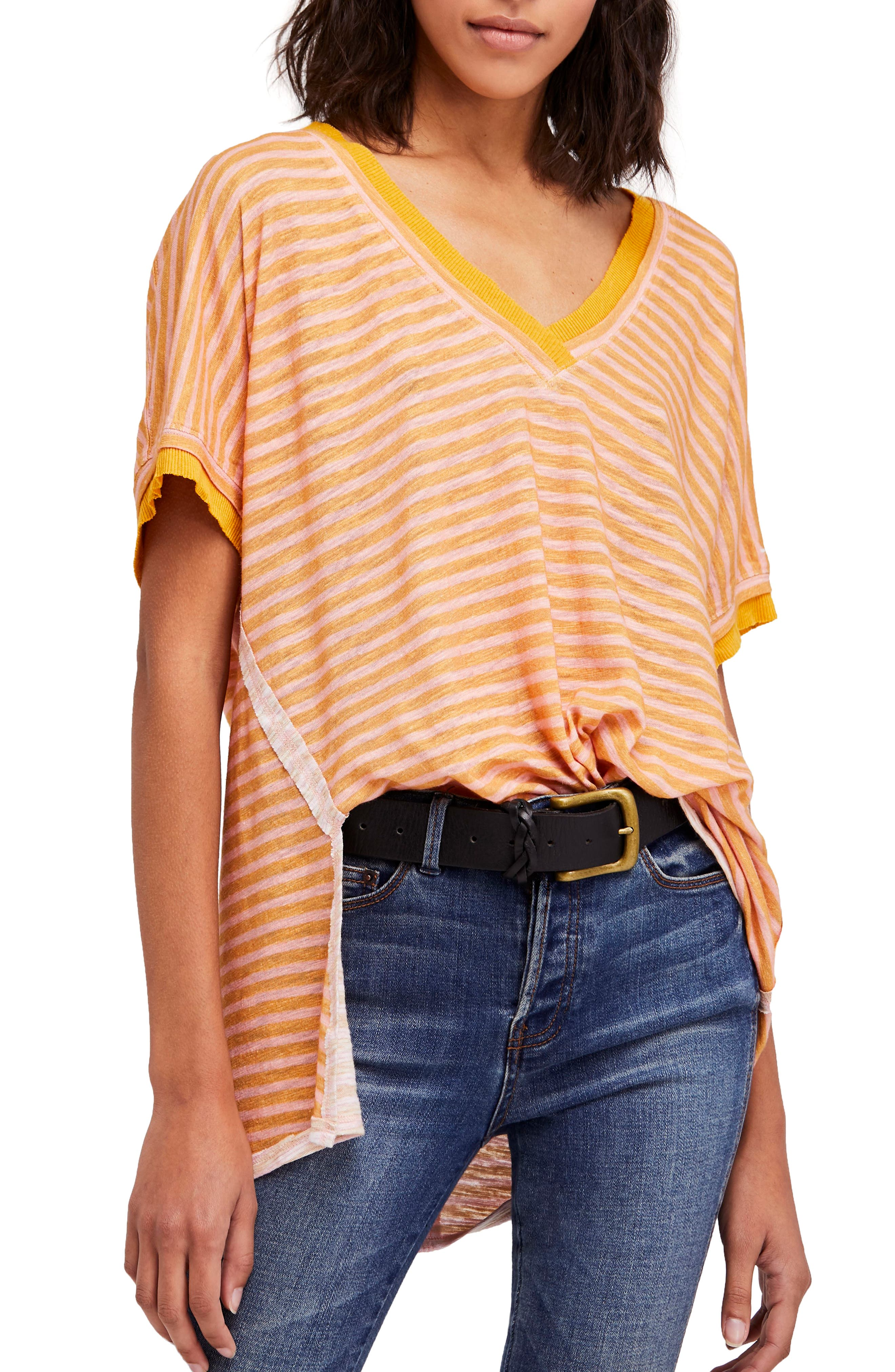 Take Me Stripe Tee,                             Main thumbnail 1, color,                             Yellow