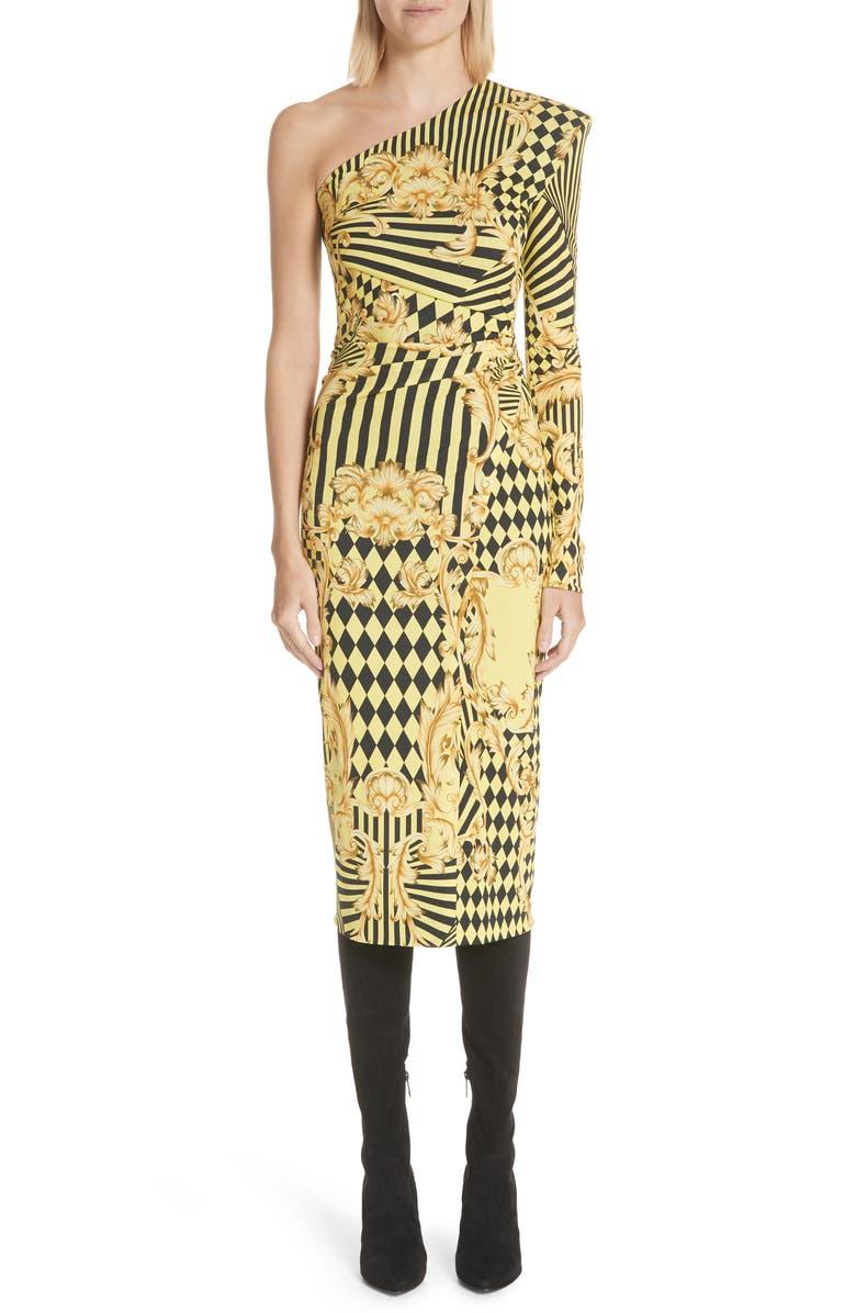 Mixed Print One Shoulder Dress
