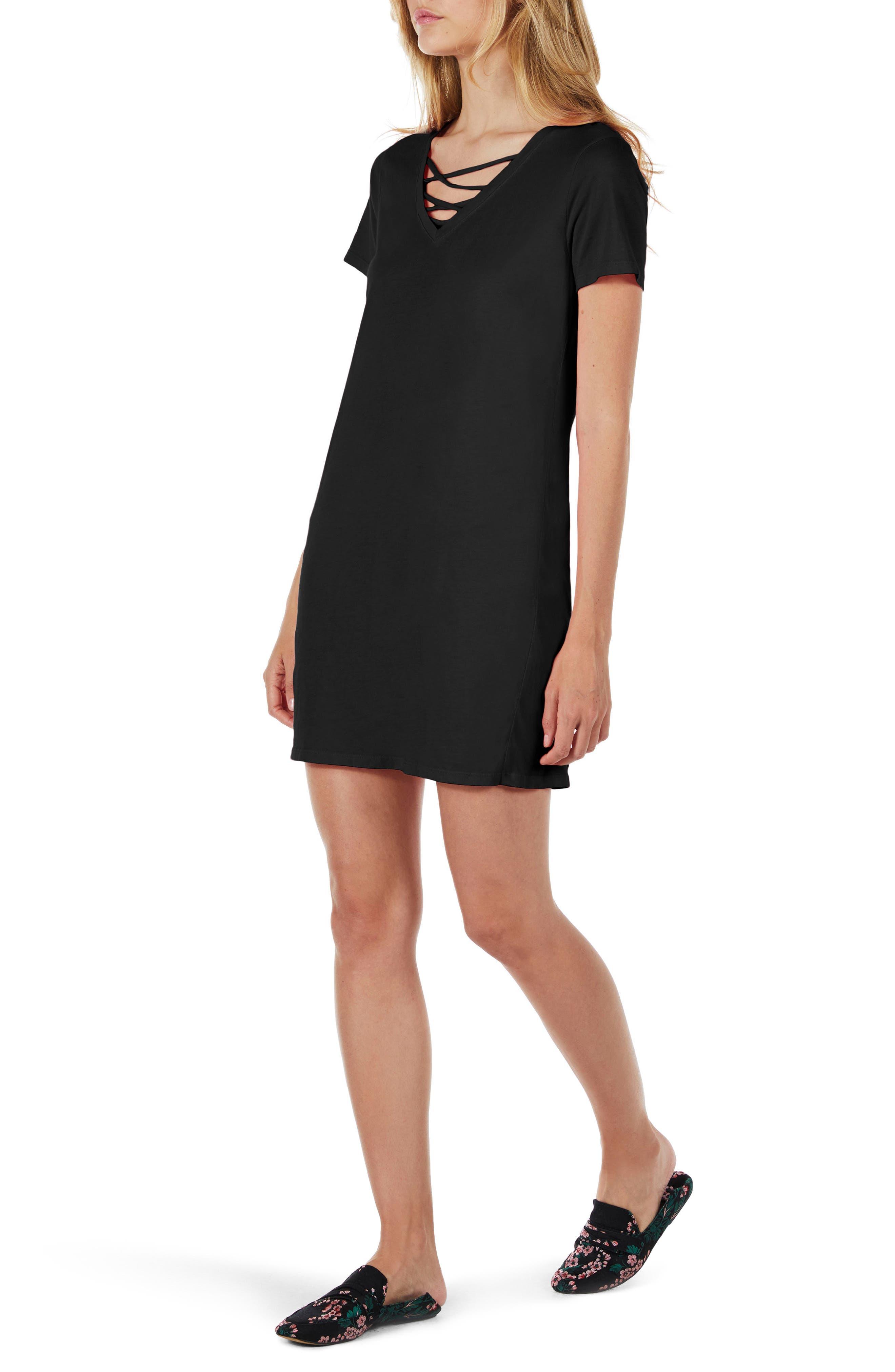 Strappy V-Neck Shift Dress,                             Alternate thumbnail 3, color,                             Black