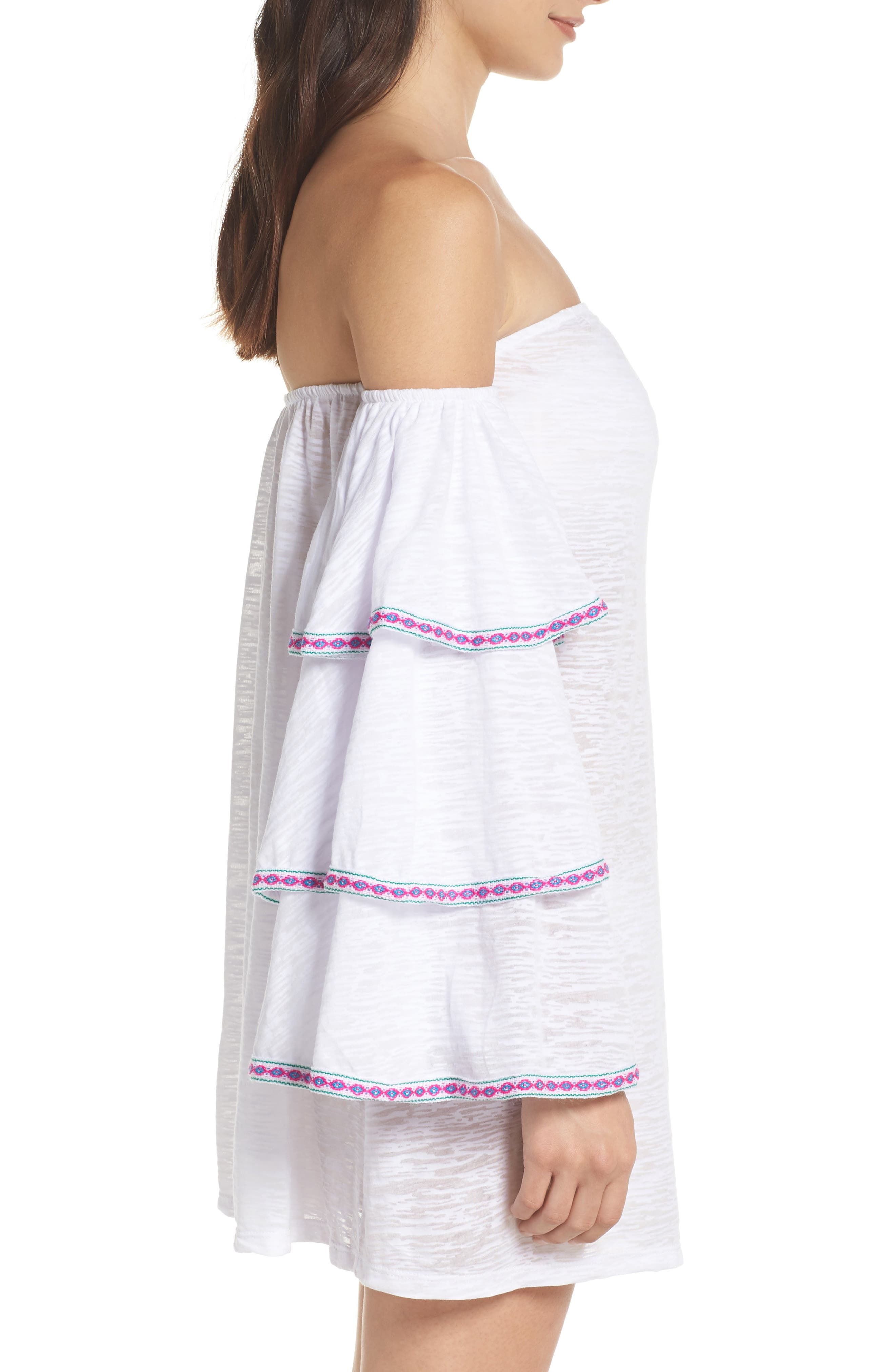 Off the Shoulder Cover-Up Dress,                             Alternate thumbnail 5, color,                             White