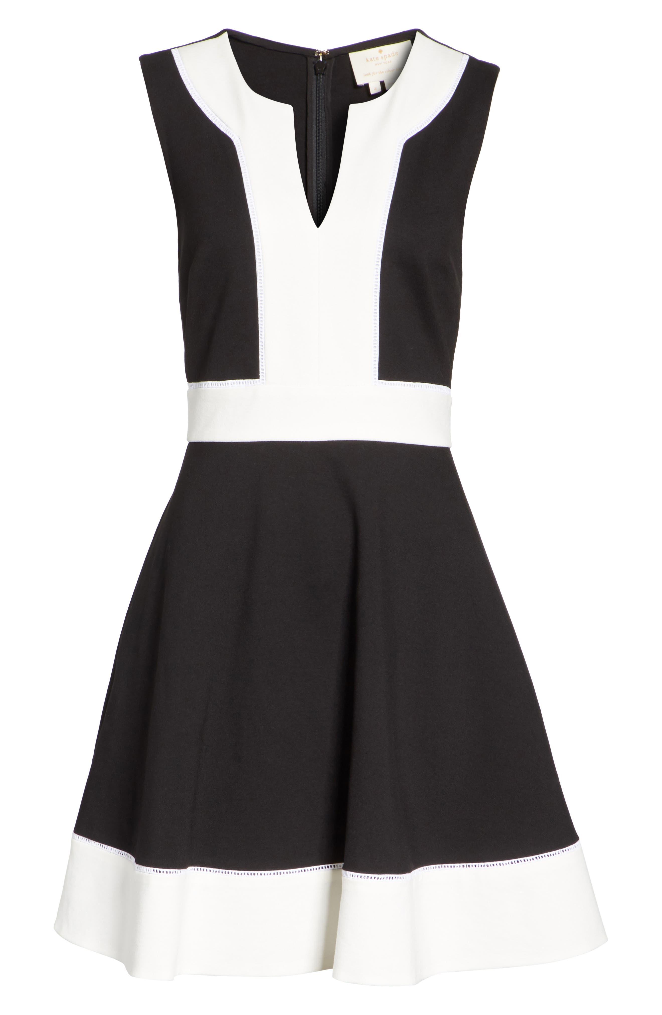 colorblock ponte a-line dress,                             Alternate thumbnail 6, color,                             Black