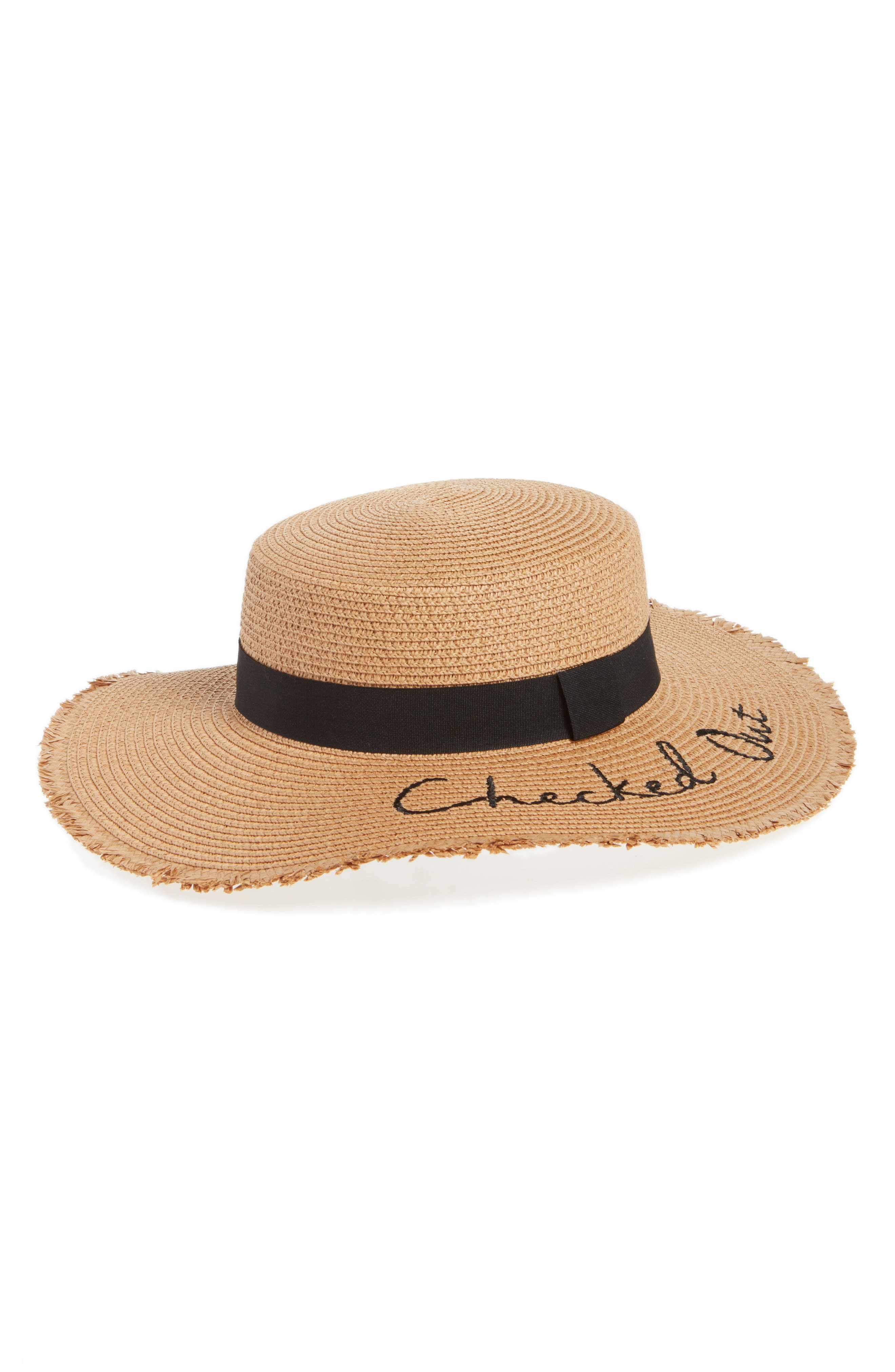 Verbiage Frayed Edge Straw Boater Hat,                             Main thumbnail 1, color,                             Natural/ Black