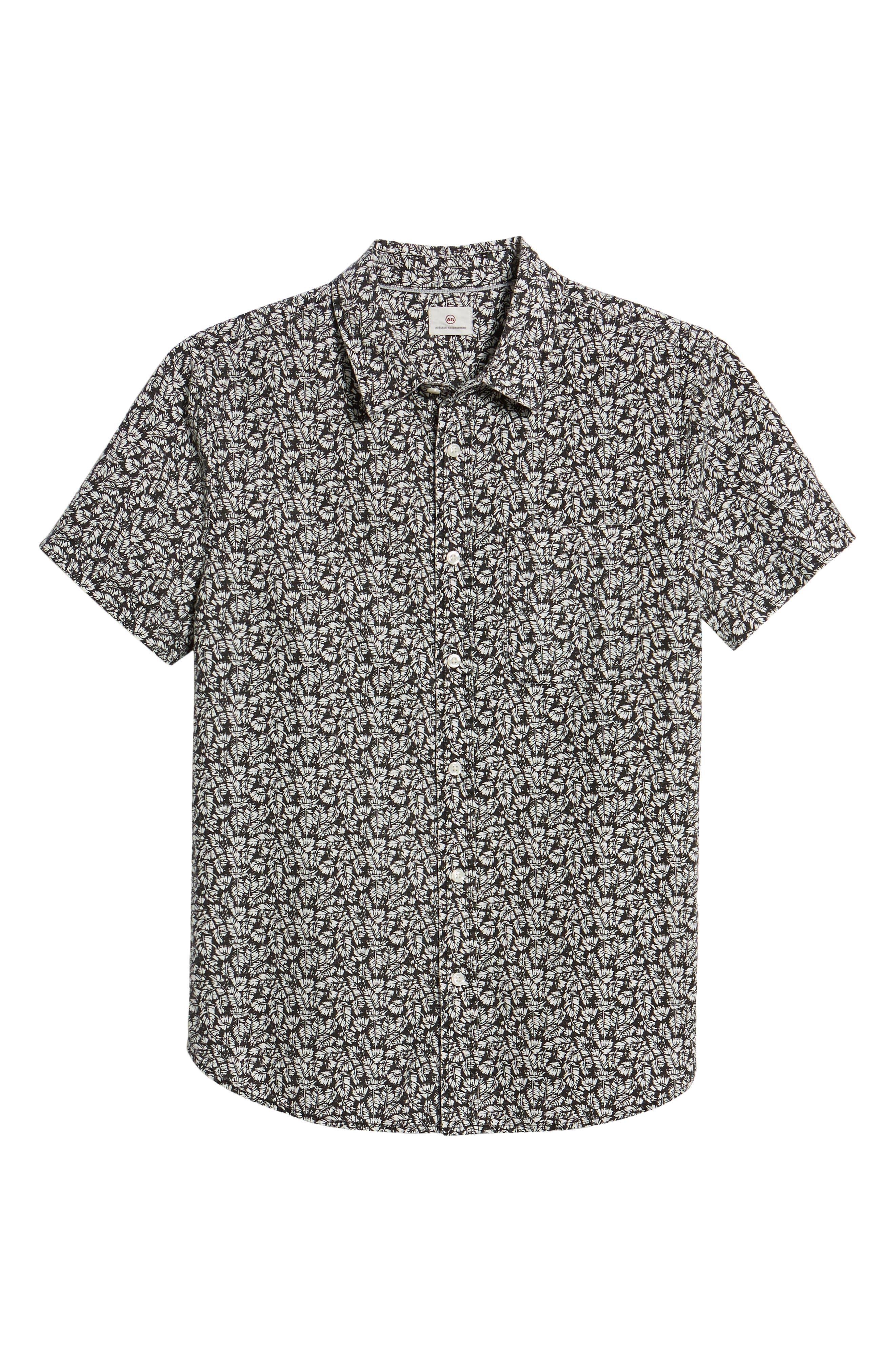 Nash Regular Fit Short Sleeve Sport Shirt,                             Alternate thumbnail 6, color,                             Palm Leaf True Black/ White