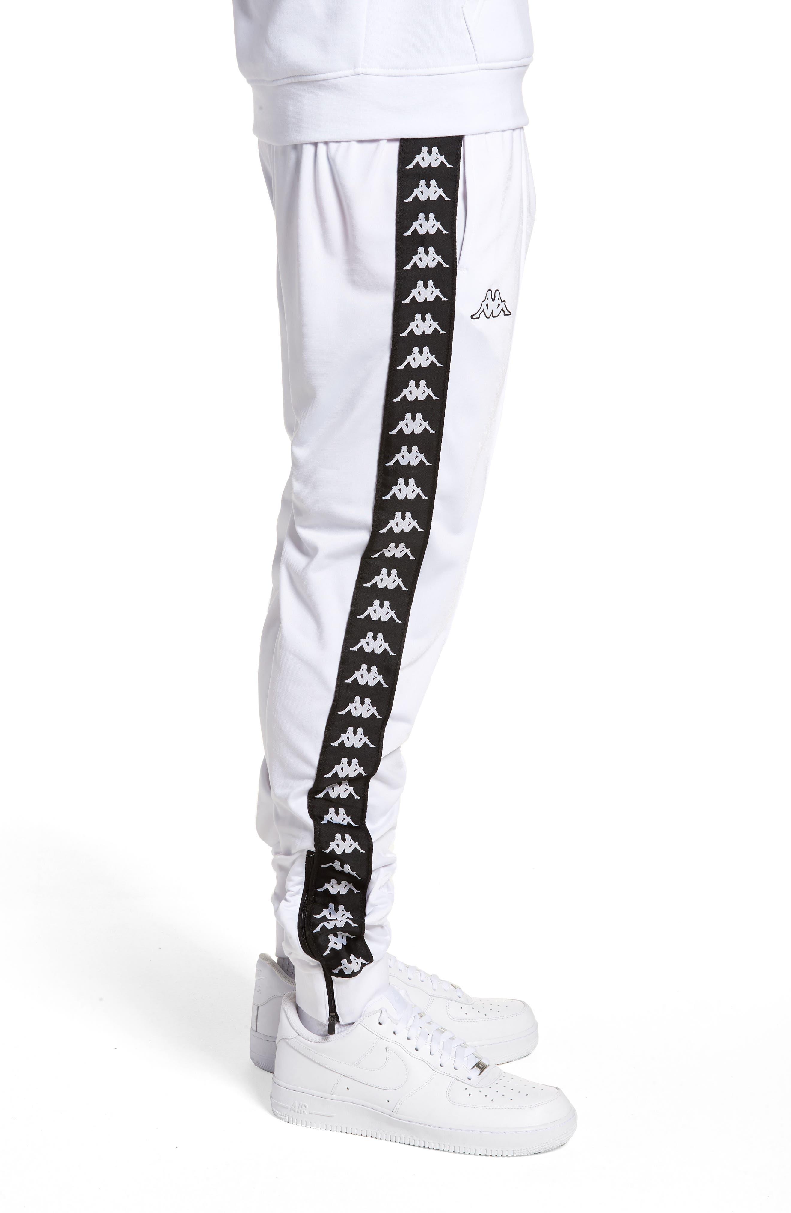 Active Banded Track Pants,                             Alternate thumbnail 3, color,                             White/ Black