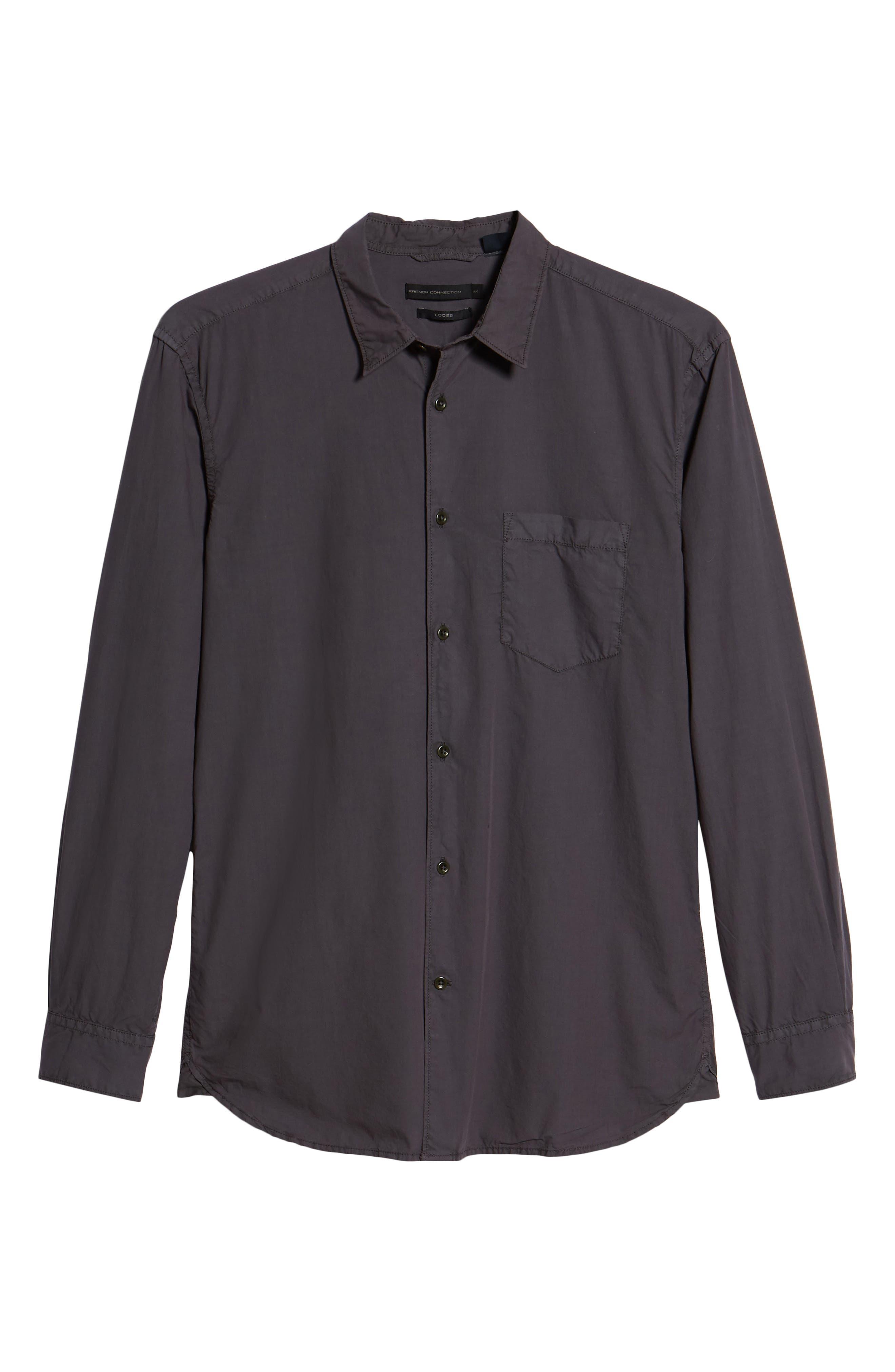 Regular Fit Poplin Sport Shirt,                             Alternate thumbnail 6, color,                             Workwear Grey