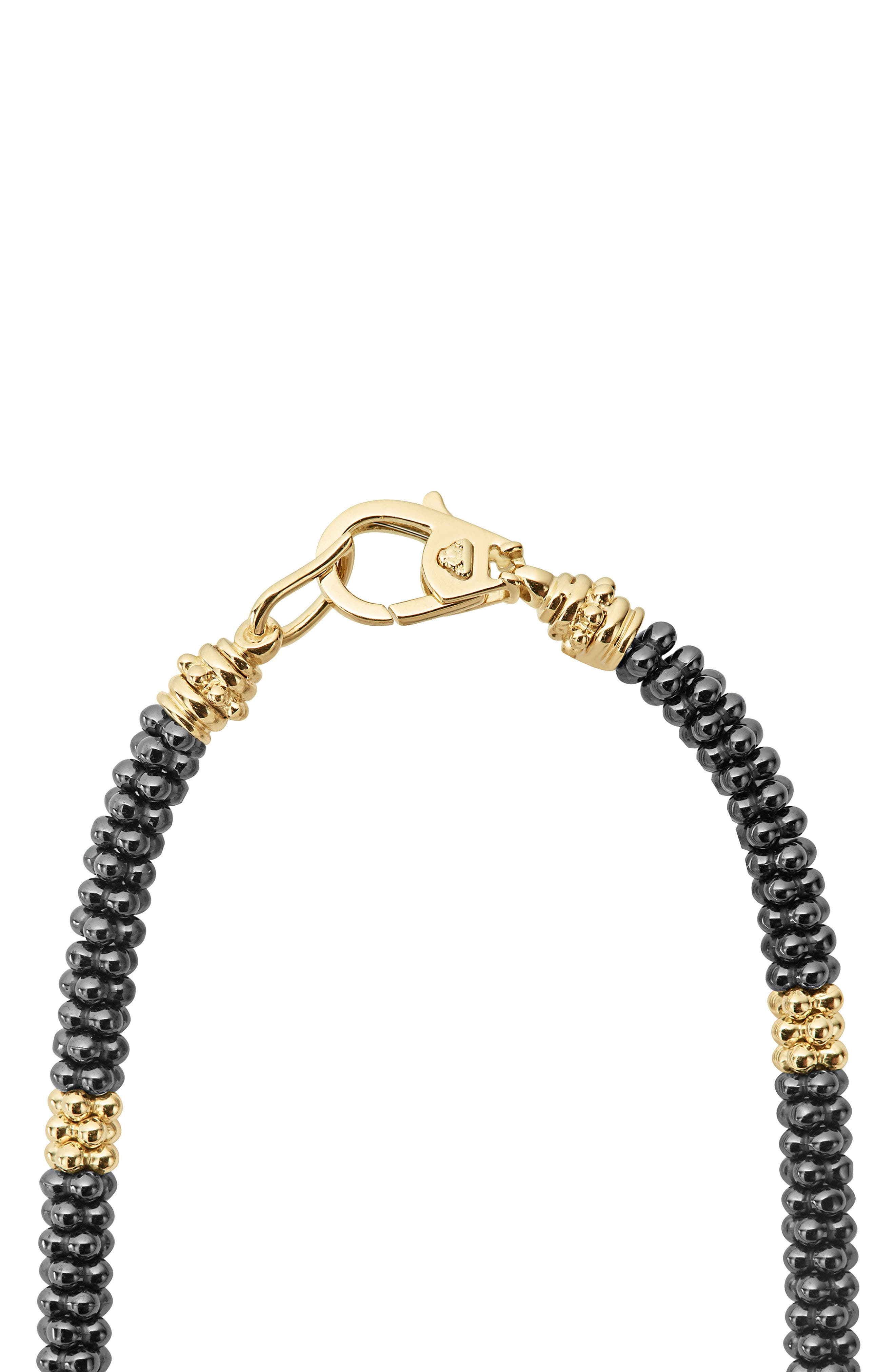 18K Gold & Black Caviar Bead Rope Necklace,                             Alternate thumbnail 3, color,                             Gold