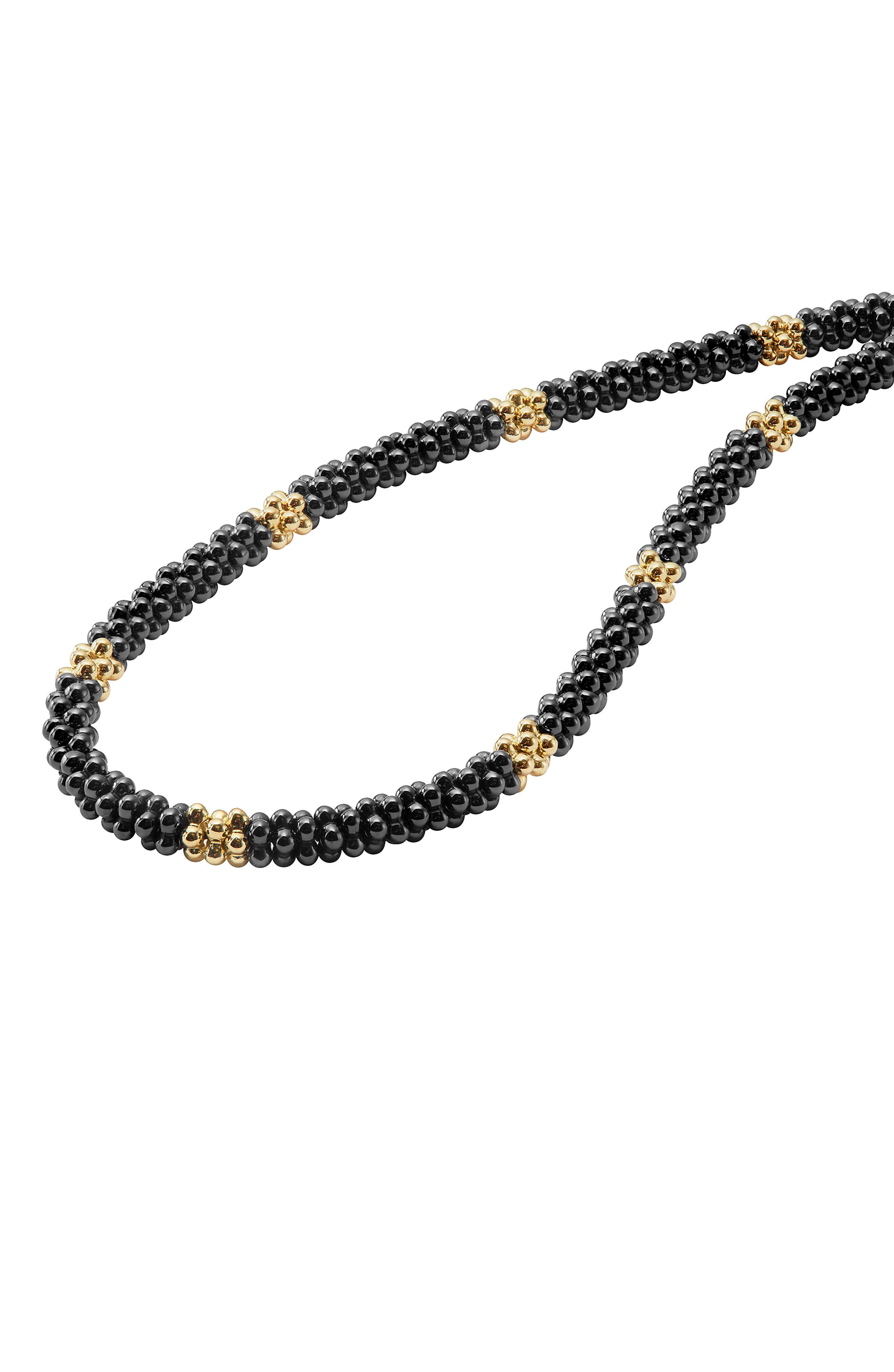 18K Gold & Black Caviar Bead Rope Necklace,                             Alternate thumbnail 4, color,                             Gold