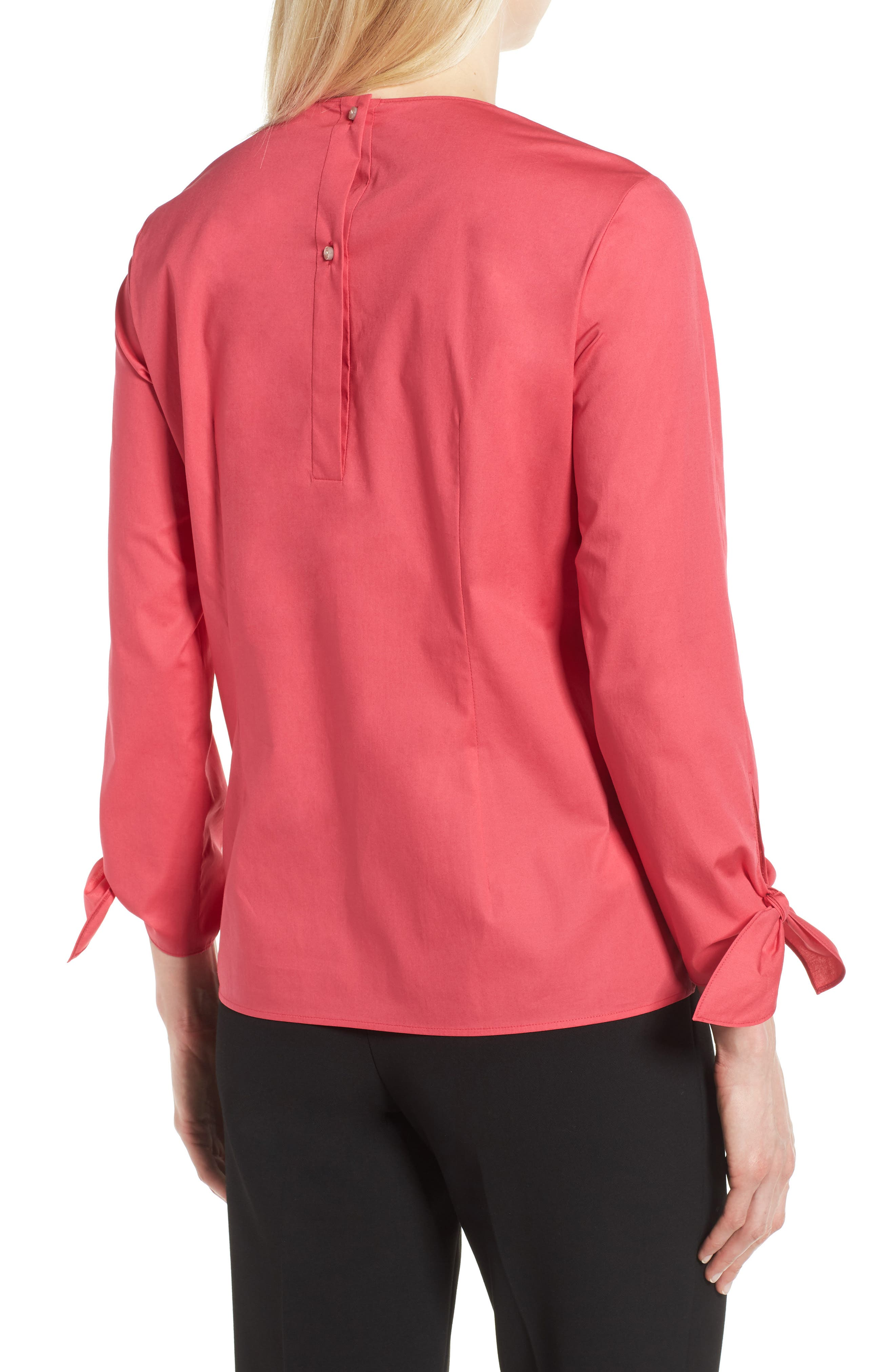 Isolema Stretch Cotton Bow Sleeve Top,                             Alternate thumbnail 2, color,                             Lychee Pink