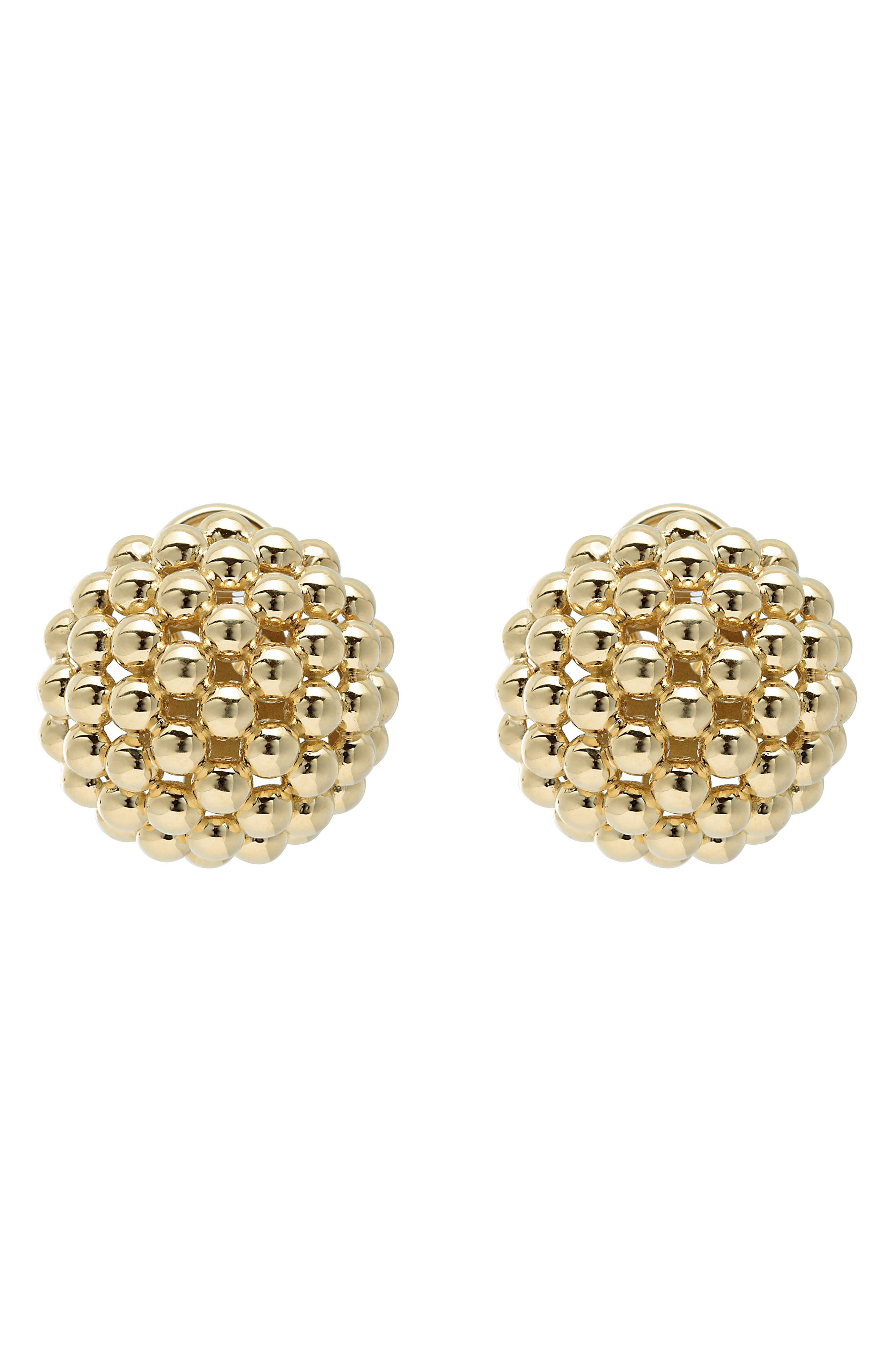Caviar Gold Dome Omega Earrings,                             Alternate thumbnail 3, color,                             Gold