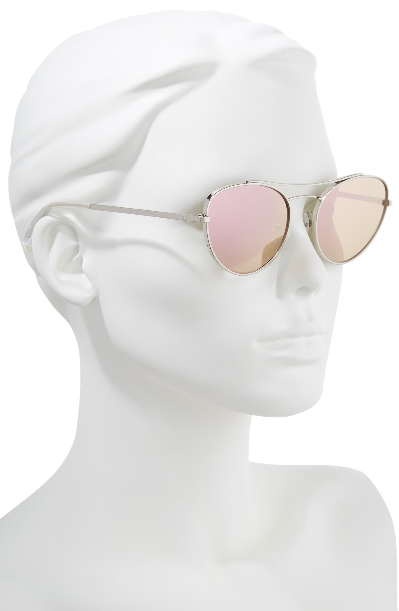 Yasmin 55mm Aviator Sunglasses,                             Alternate thumbnail 2, color,                             Silver/ Rose Gold Mirror