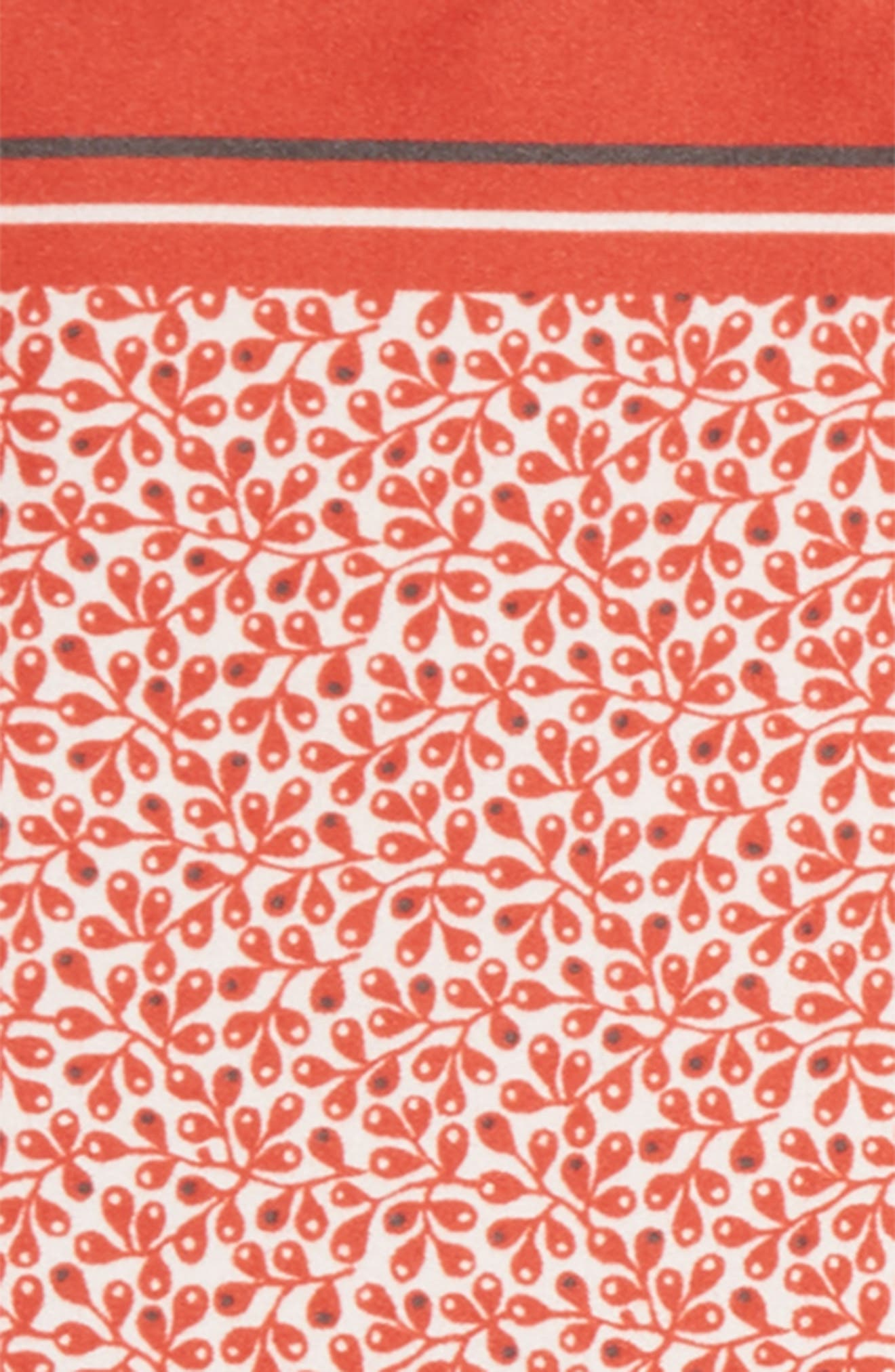 Floral Silk Pocket Square,                             Alternate thumbnail 3, color,                             Red