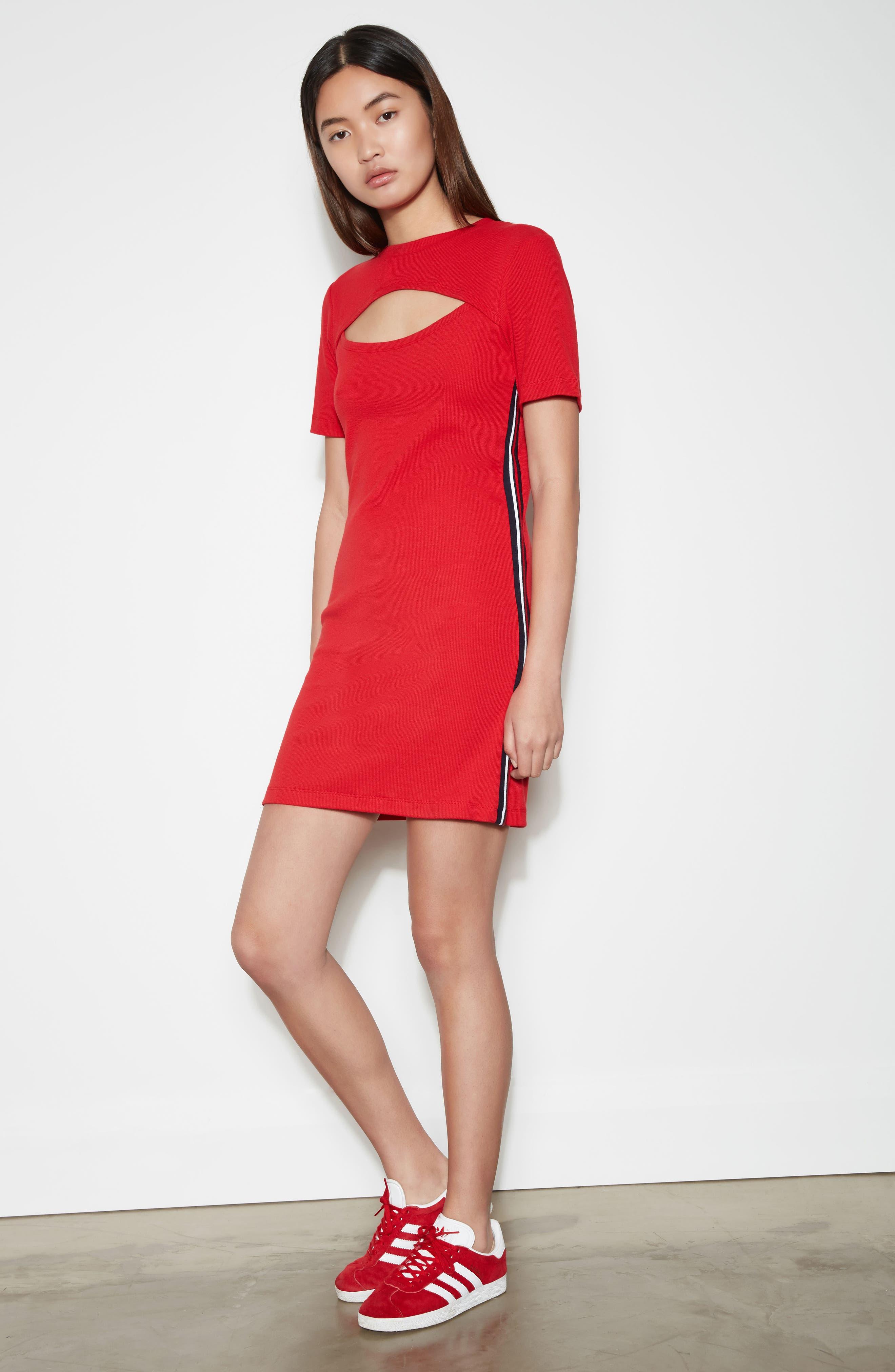 Cutout Dress,                             Alternate thumbnail 8, color,                             Red