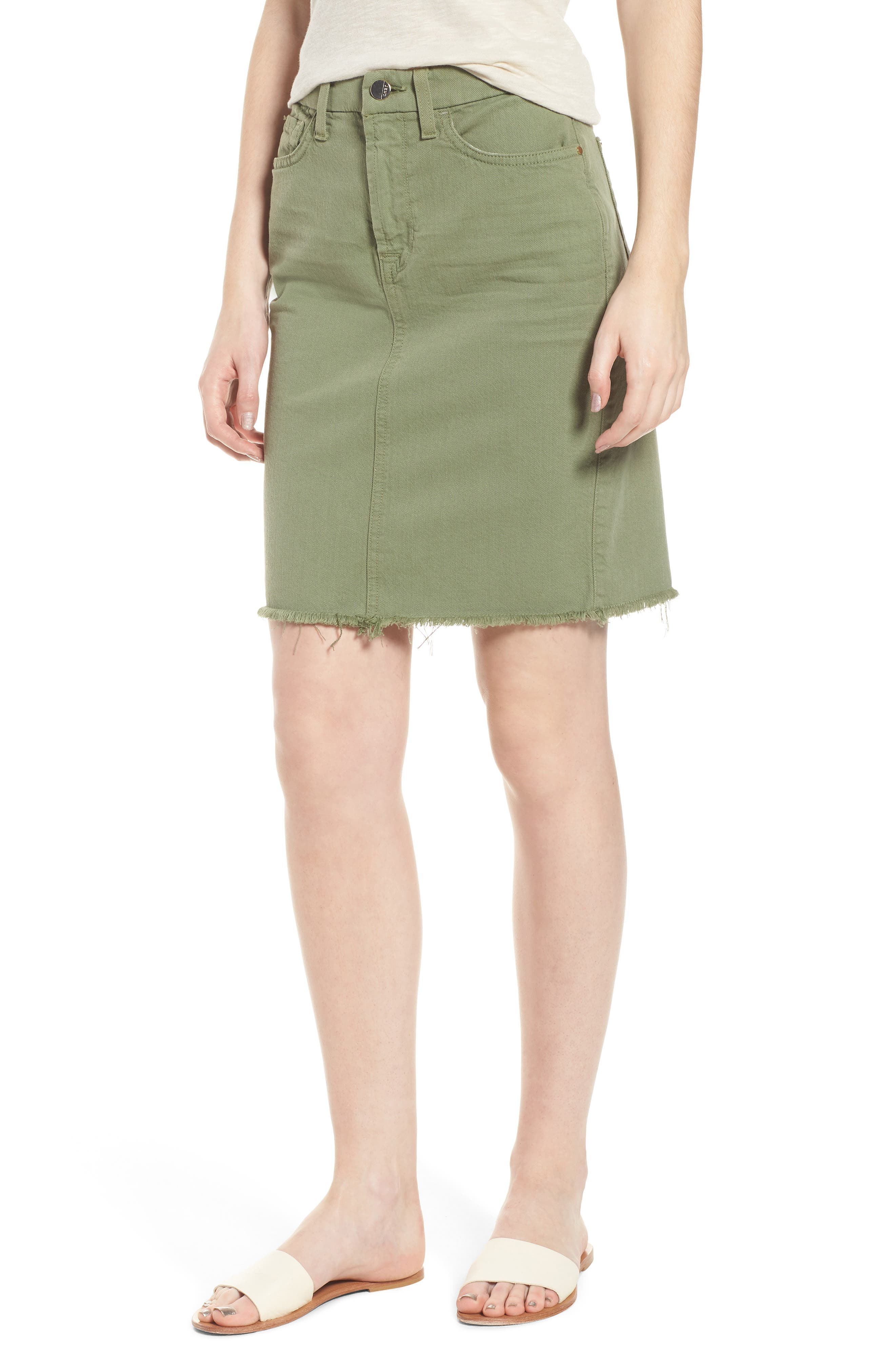 Frayed Hem Denim Pencil Skirt,                             Main thumbnail 1, color,                             Washed Army