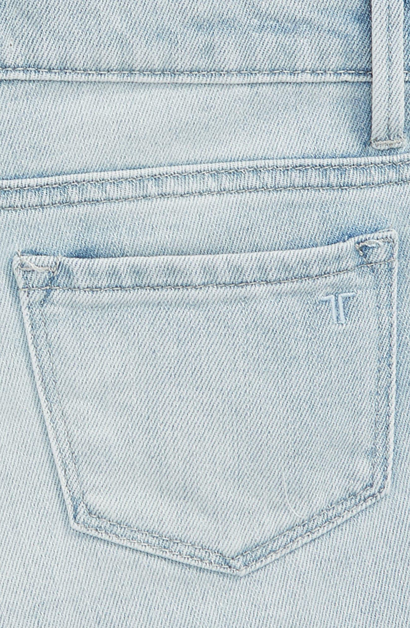Lace Denim Shorts,                             Alternate thumbnail 3, color,                             Light Indigo