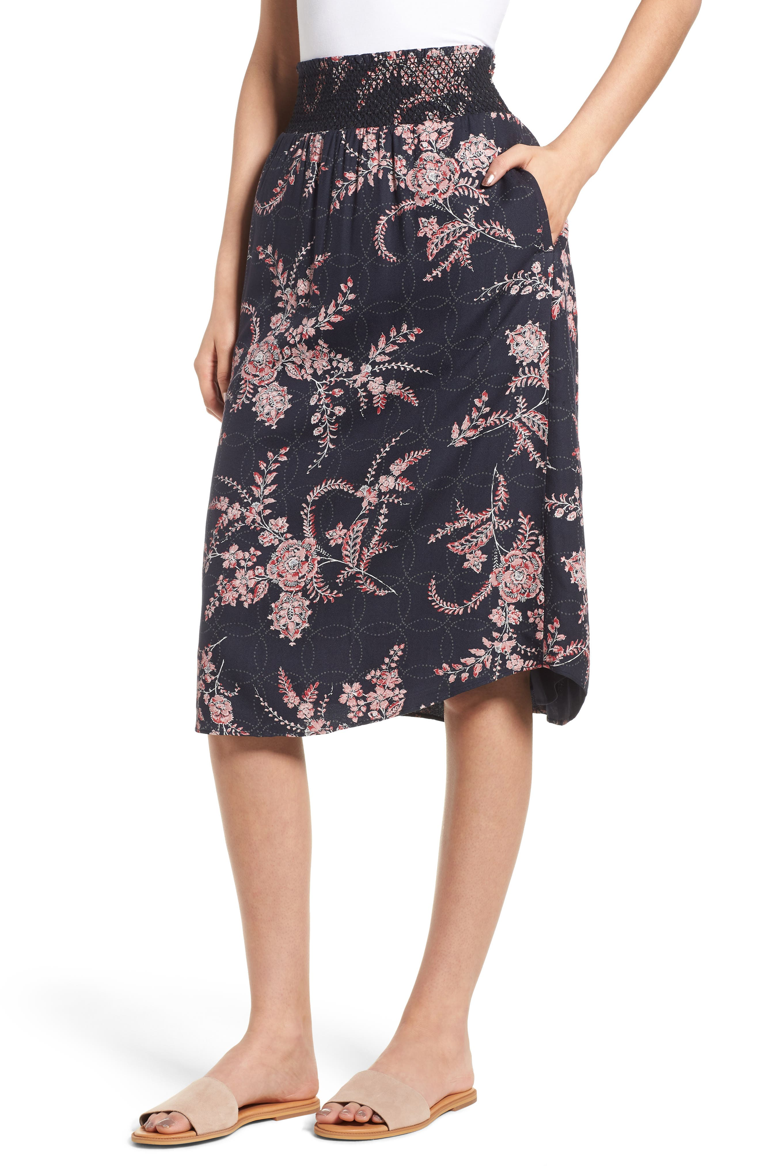 Smock Waist Midi Skirt,                             Main thumbnail 1, color,                             Navy Blue Illustrated Floral