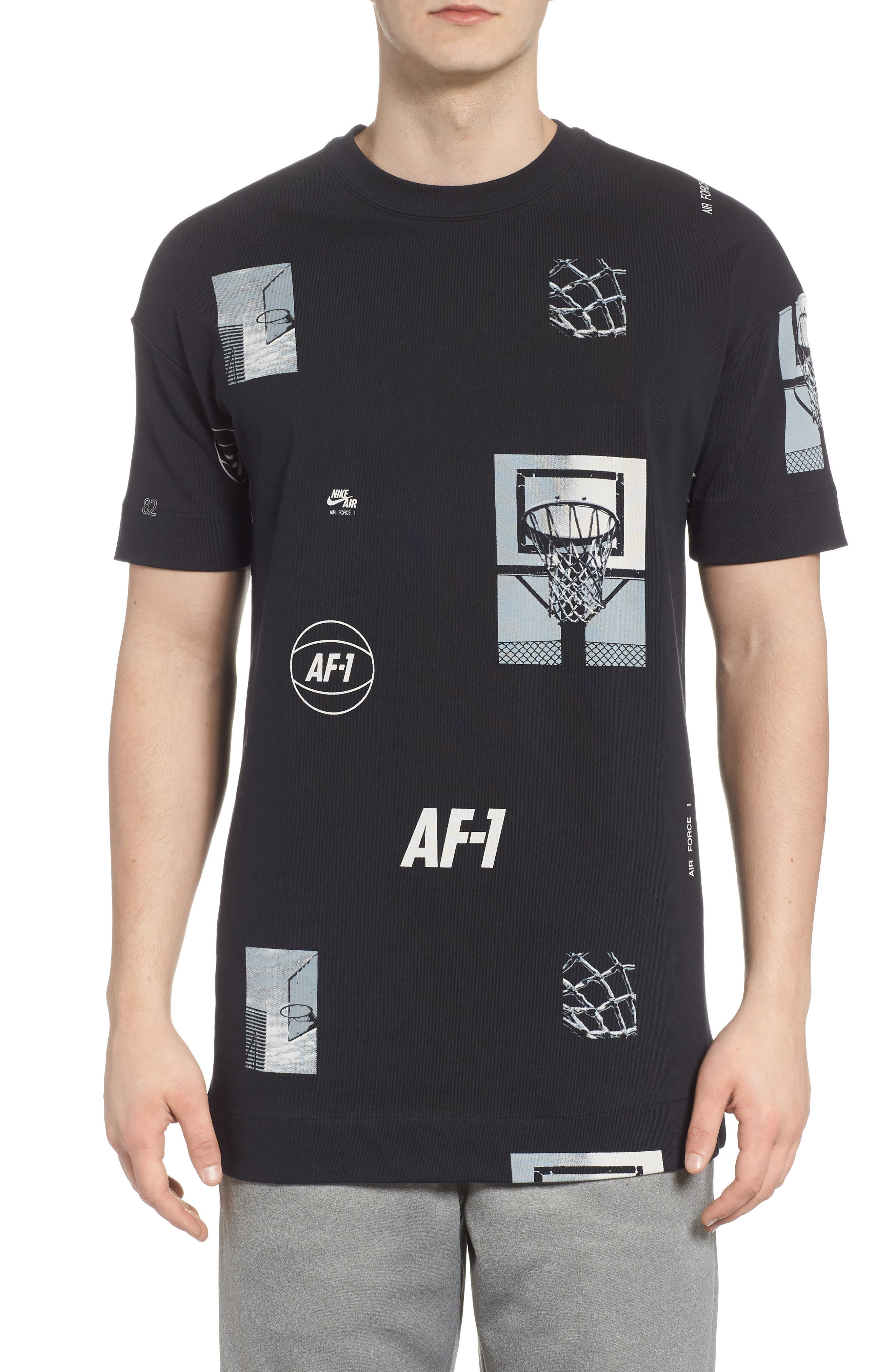 Sportswear AF-1 Oversize T-Shirt,                             Main thumbnail 1, color,                             Black/ White