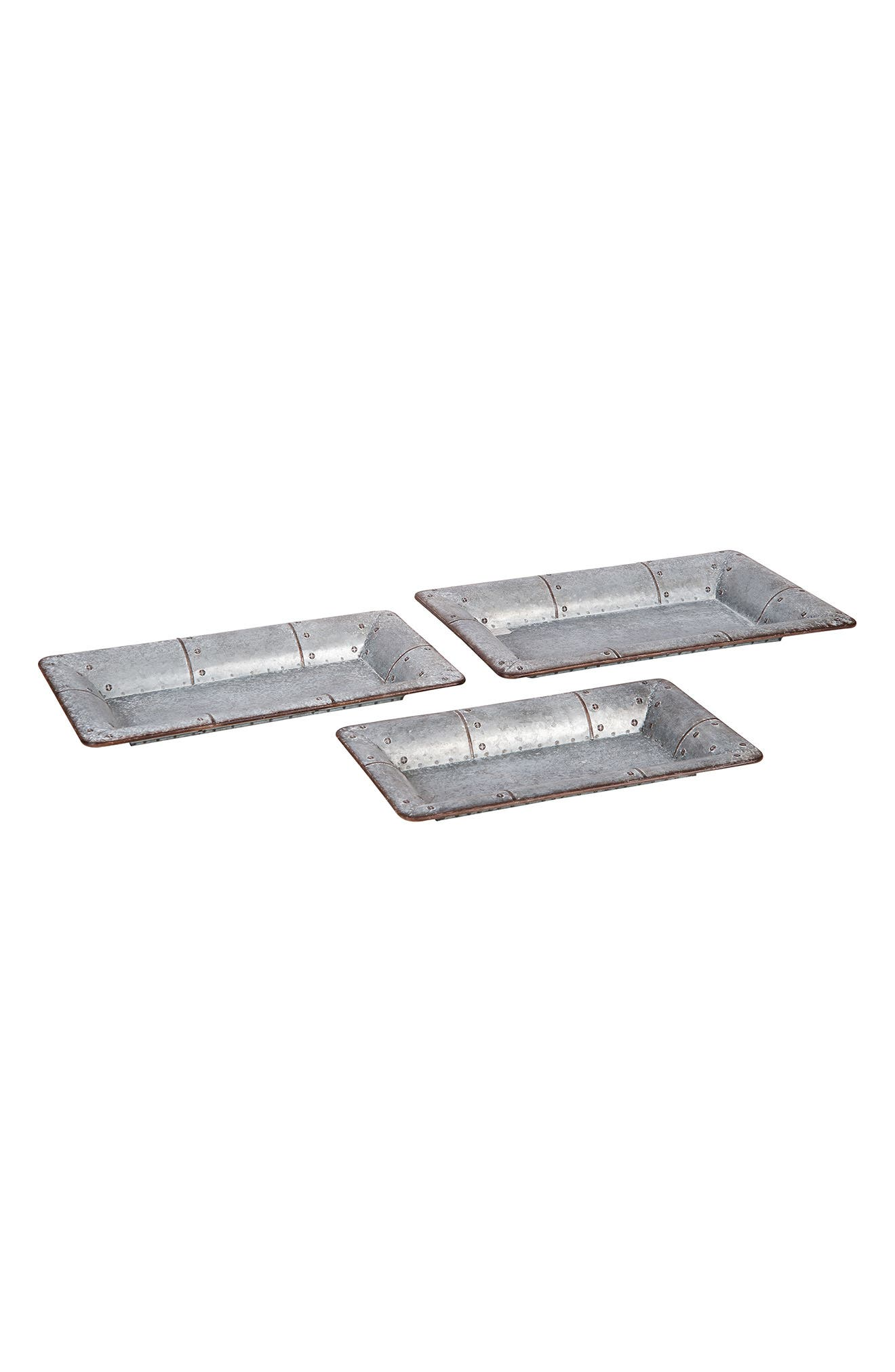 Set of 3 Hammered Trays,                             Main thumbnail 1, color,                             Metal
