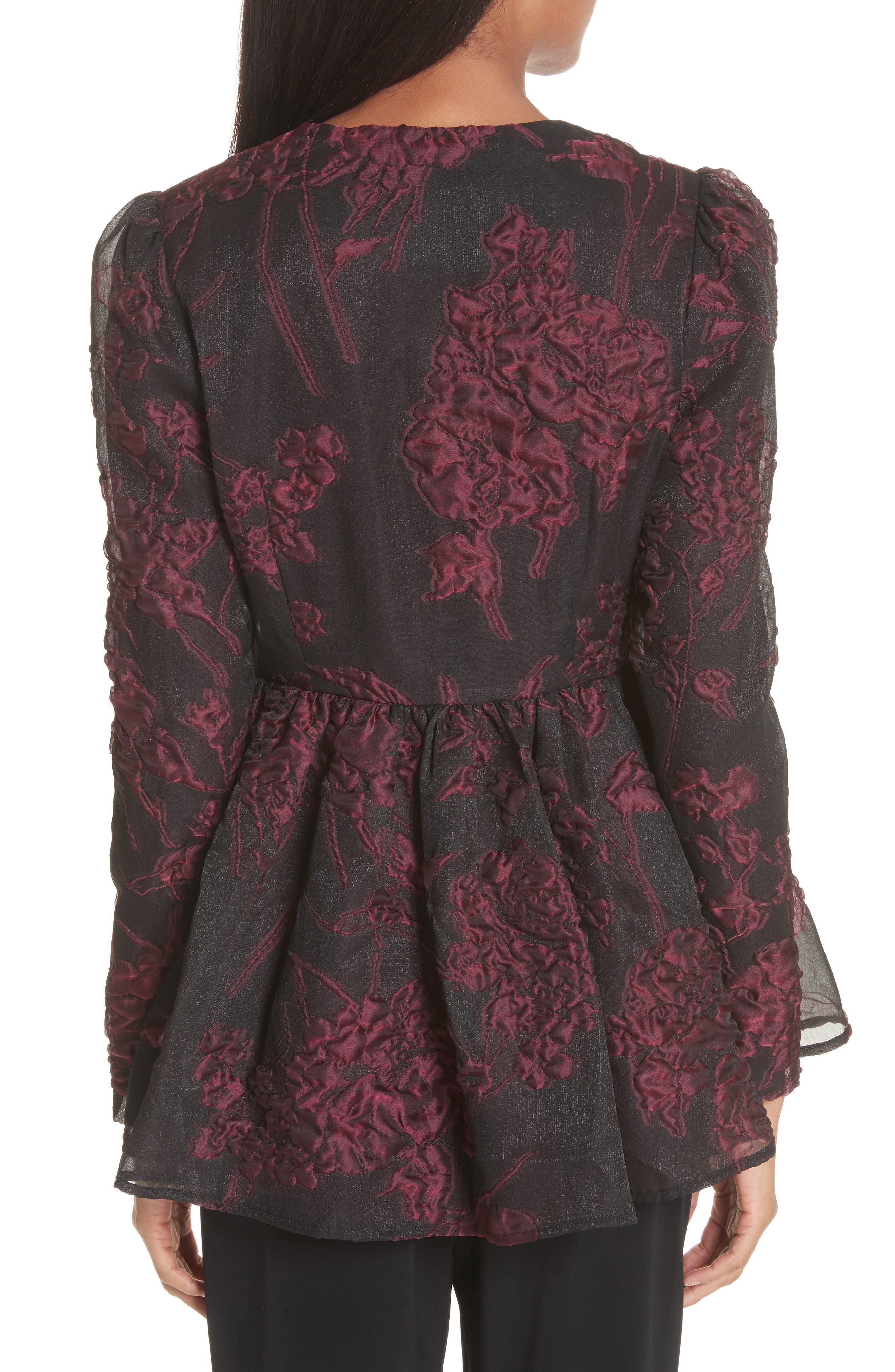 Floral Silk Blend Jacquard Peplum Jacket,                             Alternate thumbnail 2, color,                             Black/ Plum