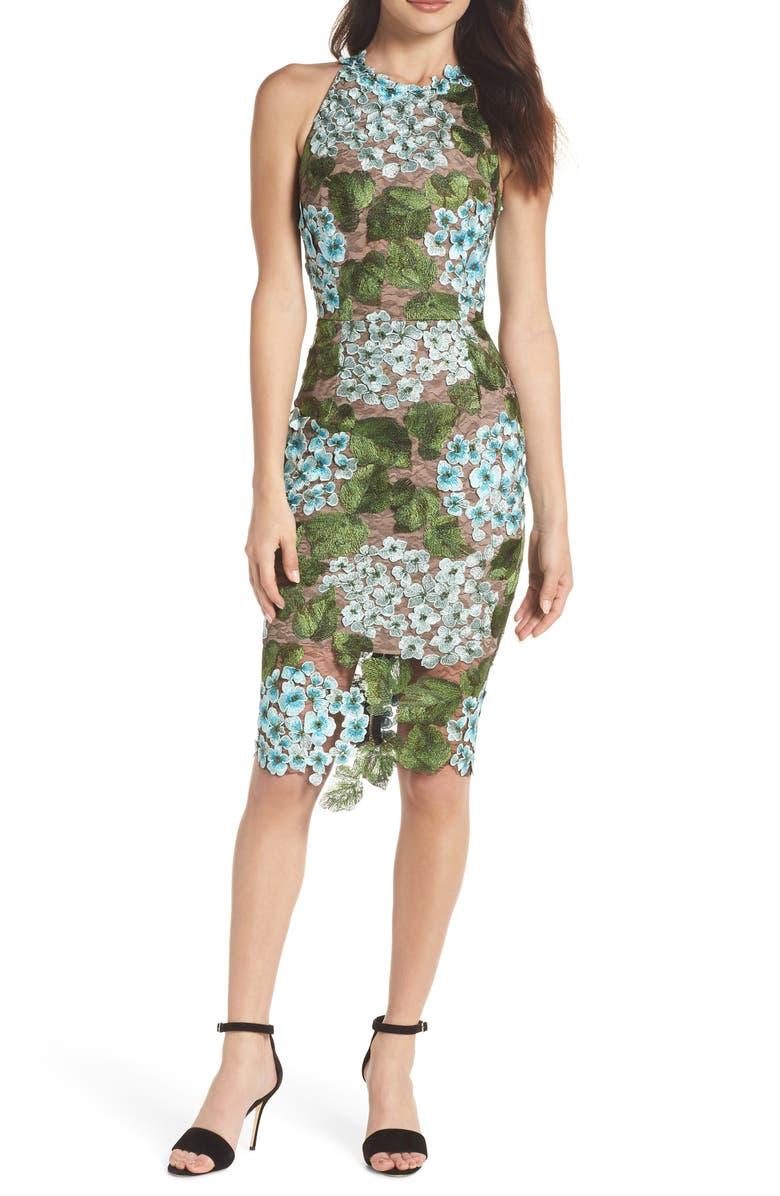 Blue Cherry Hydrangea Lace Sheath Dress