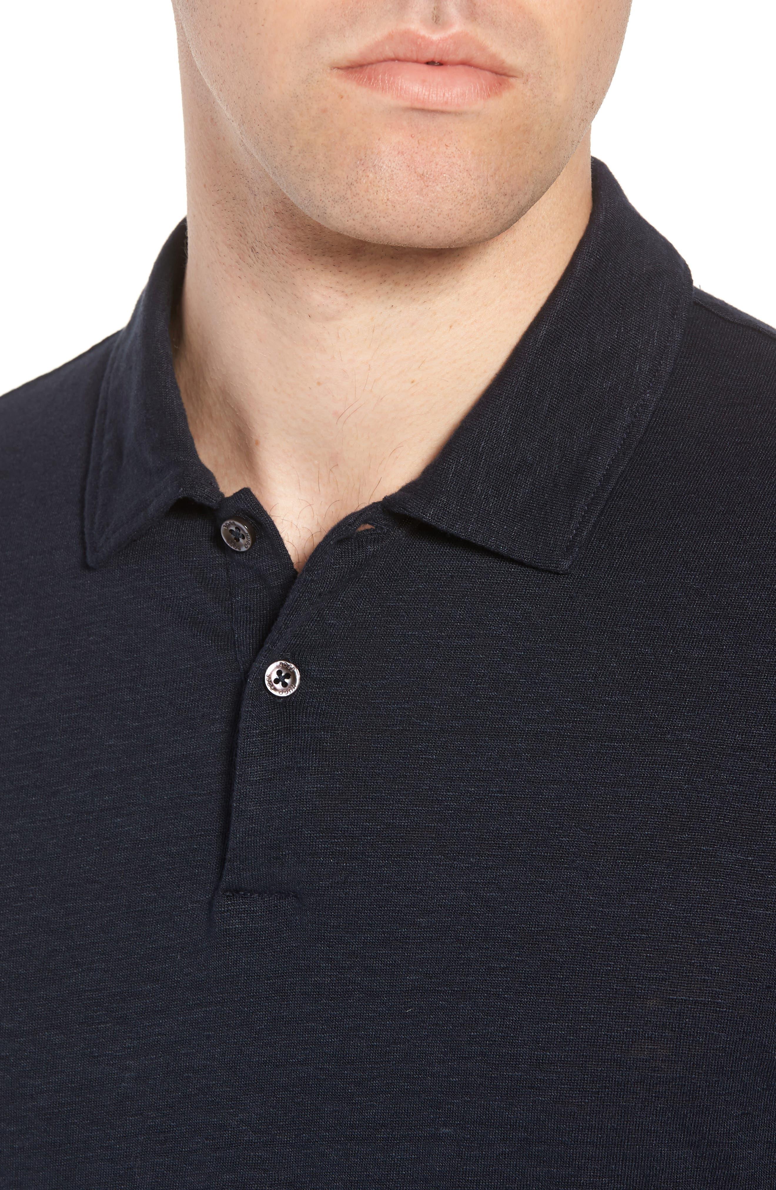 Hugo Boss Regular Fit Paino Linen Polo,                             Alternate thumbnail 4, color,                             Blue