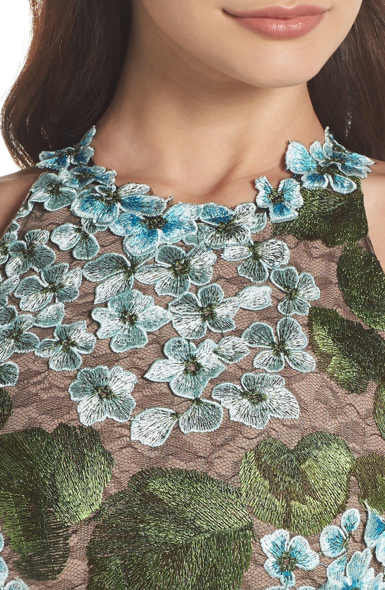 Blue Cherry Hydrangea Lace Sheath Dress,                             Alternate thumbnail 4, color,                             Multicolor