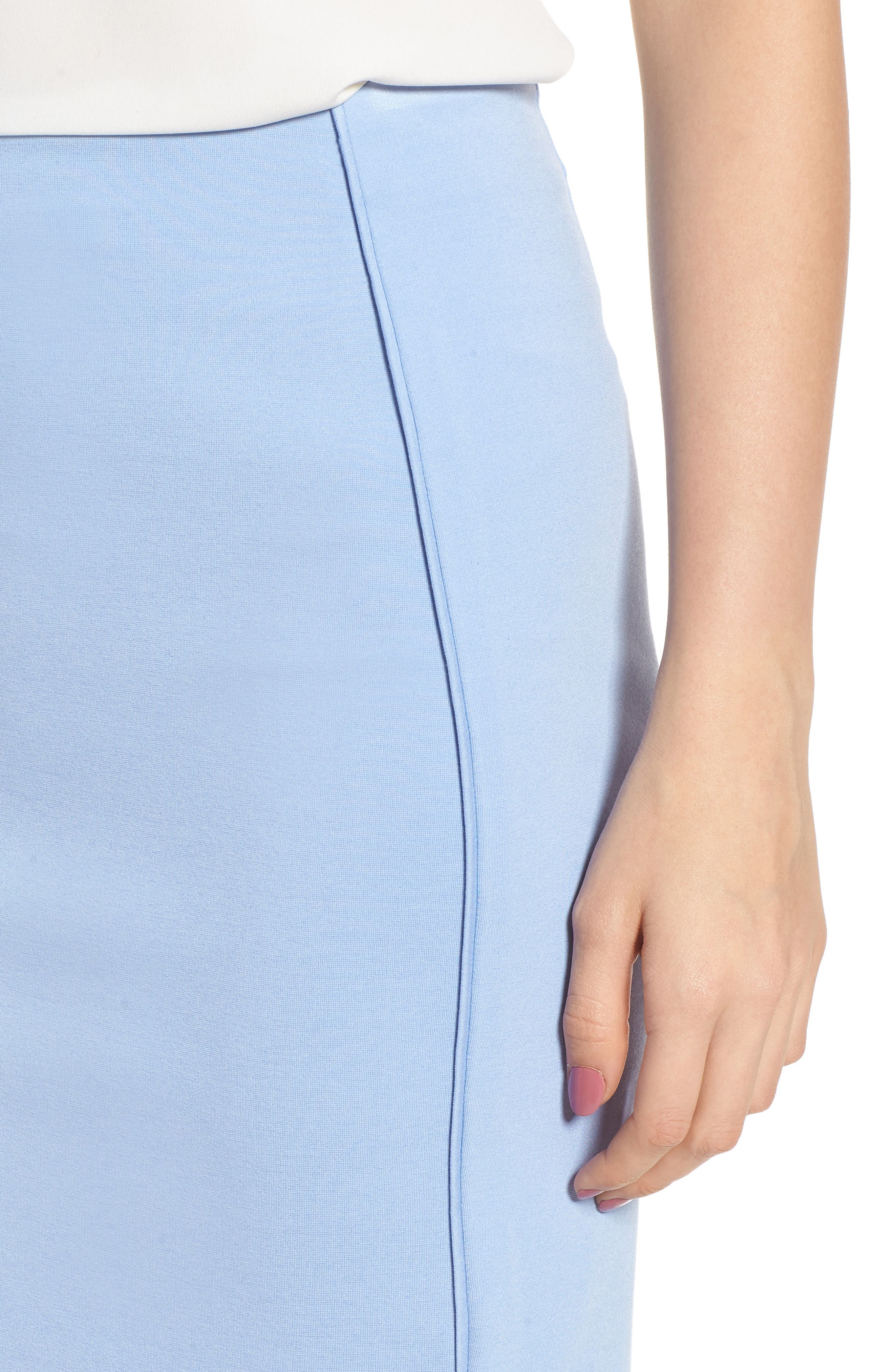 Ponte Pencil Skirt,                             Alternate thumbnail 4, color,                             Soft Blue