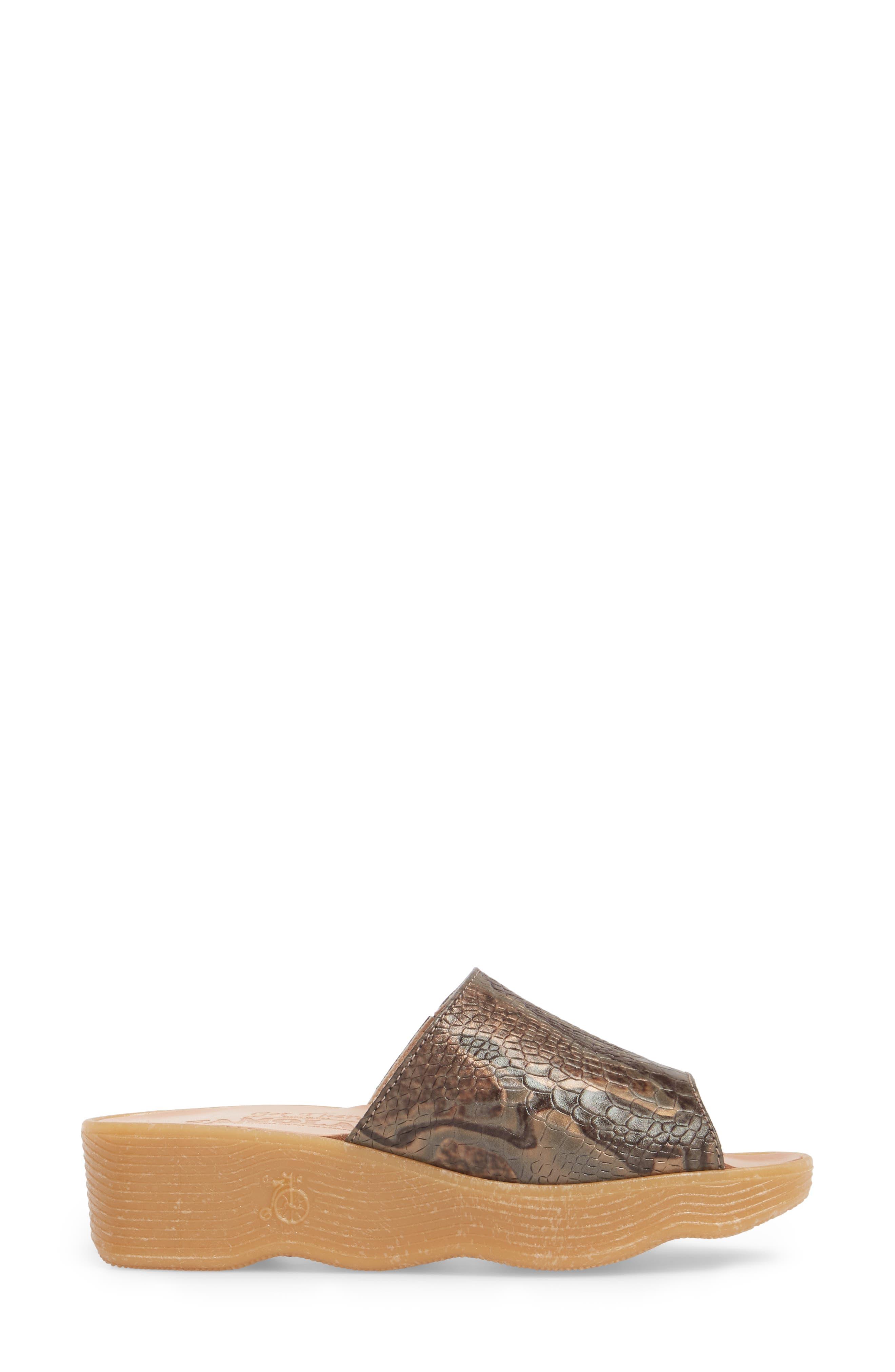 Slide N Sleek Wedge Slide Sandal,                             Alternate thumbnail 3, color,                             Snake Leather