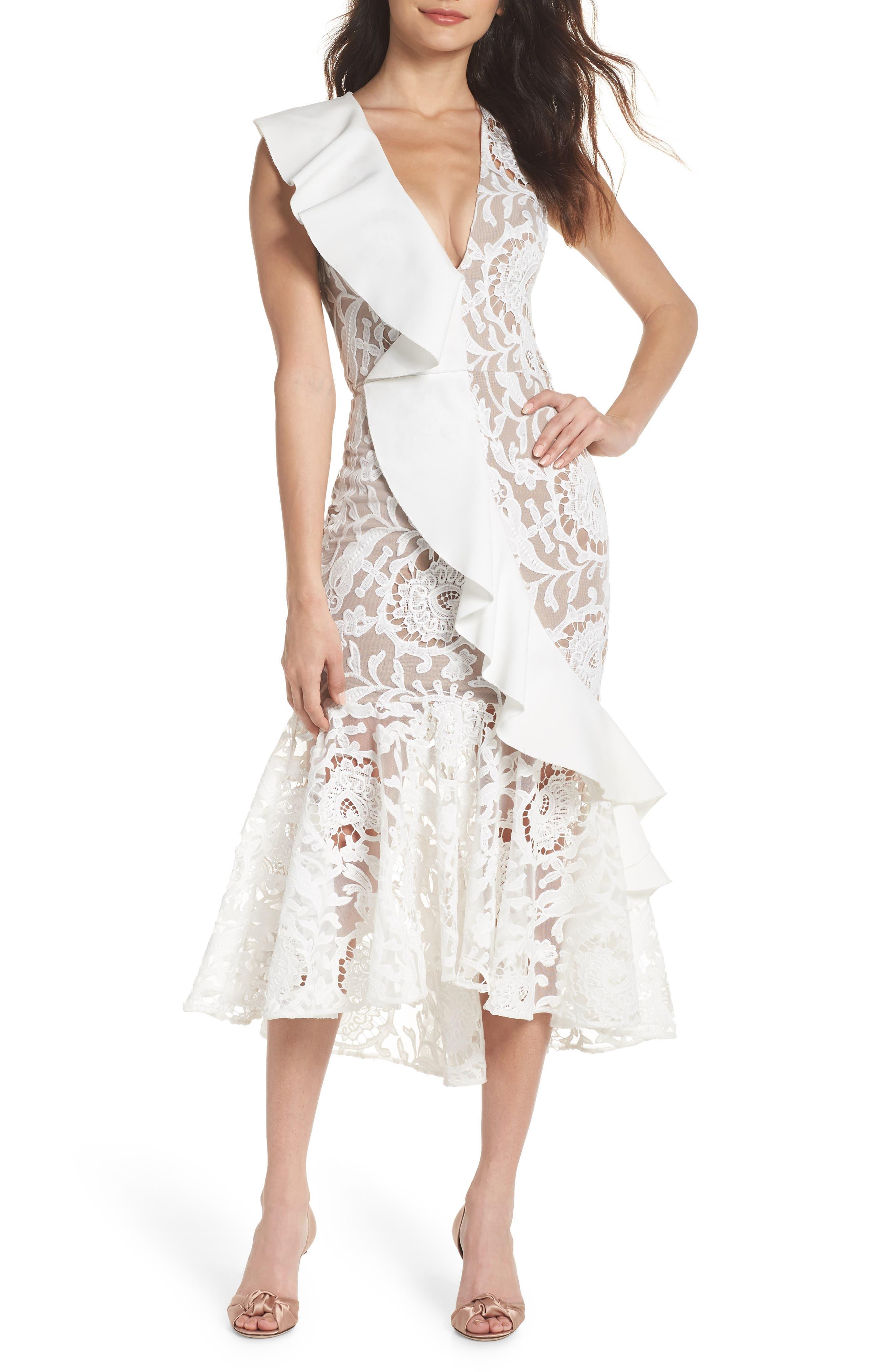Rocha Waterfall Ruffle Lace Midi Dress,                             Main thumbnail 1, color,                             White