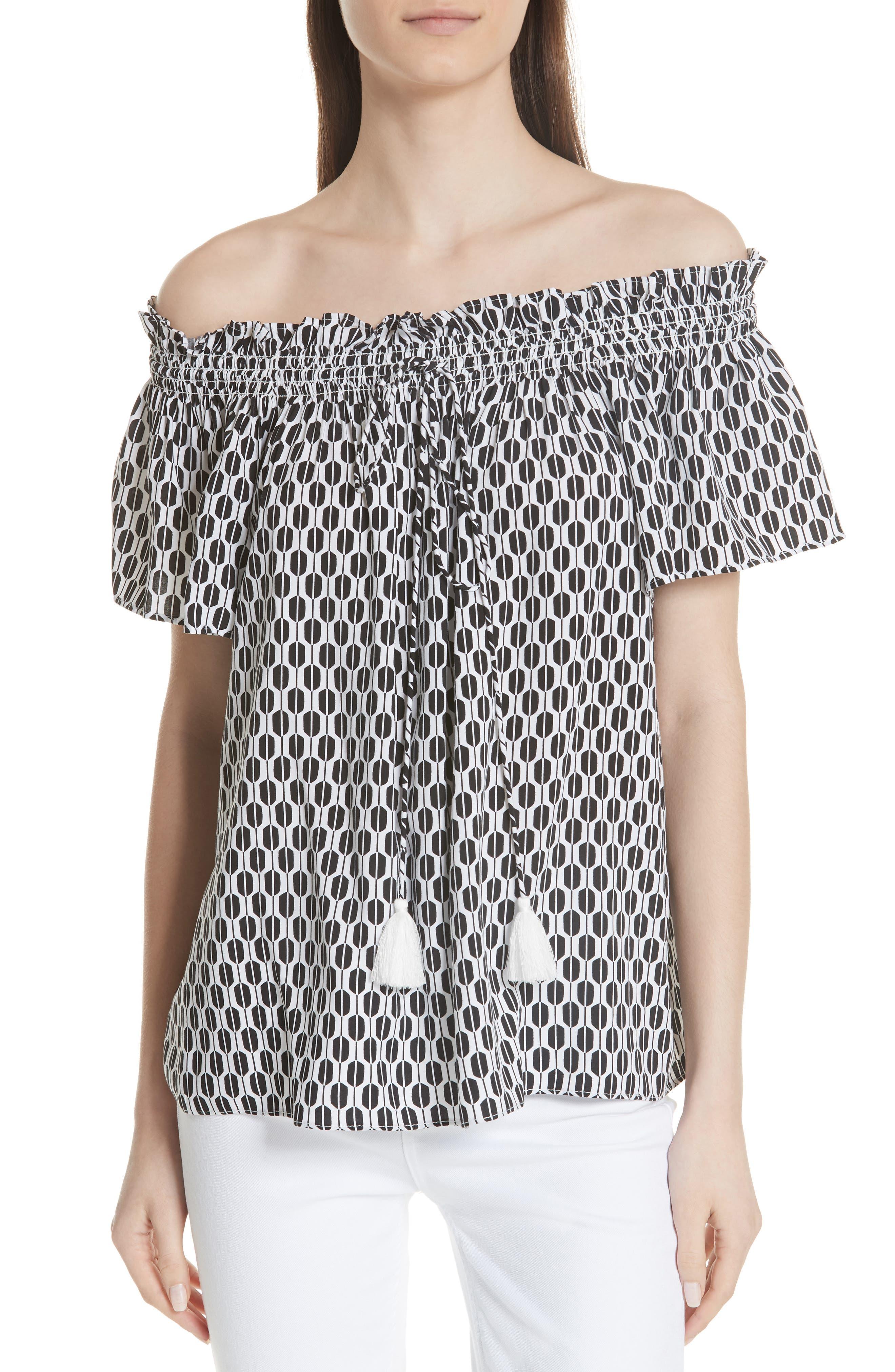 arrow stripe off the shoulder top,                         Main,                         color, Fresh White/ Black