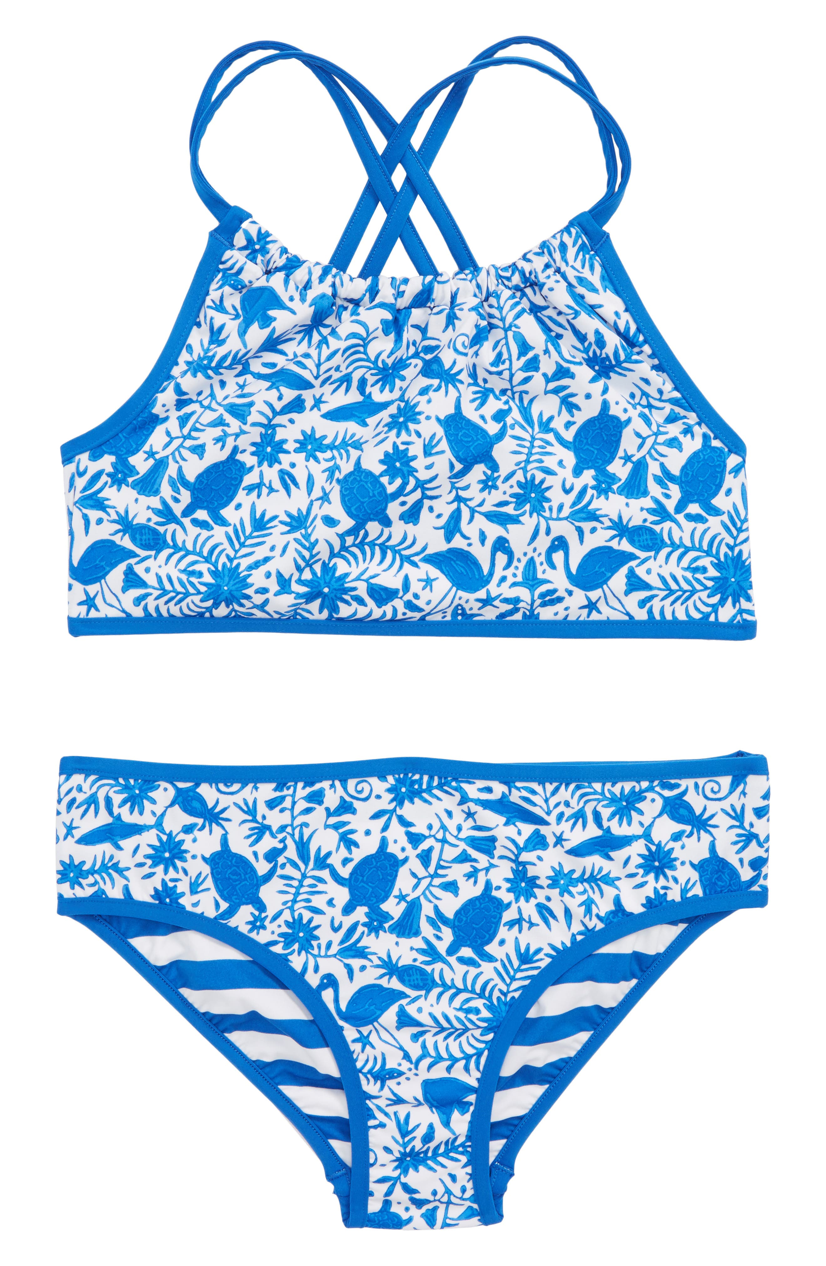 Bahama Otomi Reversible Two-Piece Swimsuit,                             Main thumbnail 1, color,                             Yacht Blue