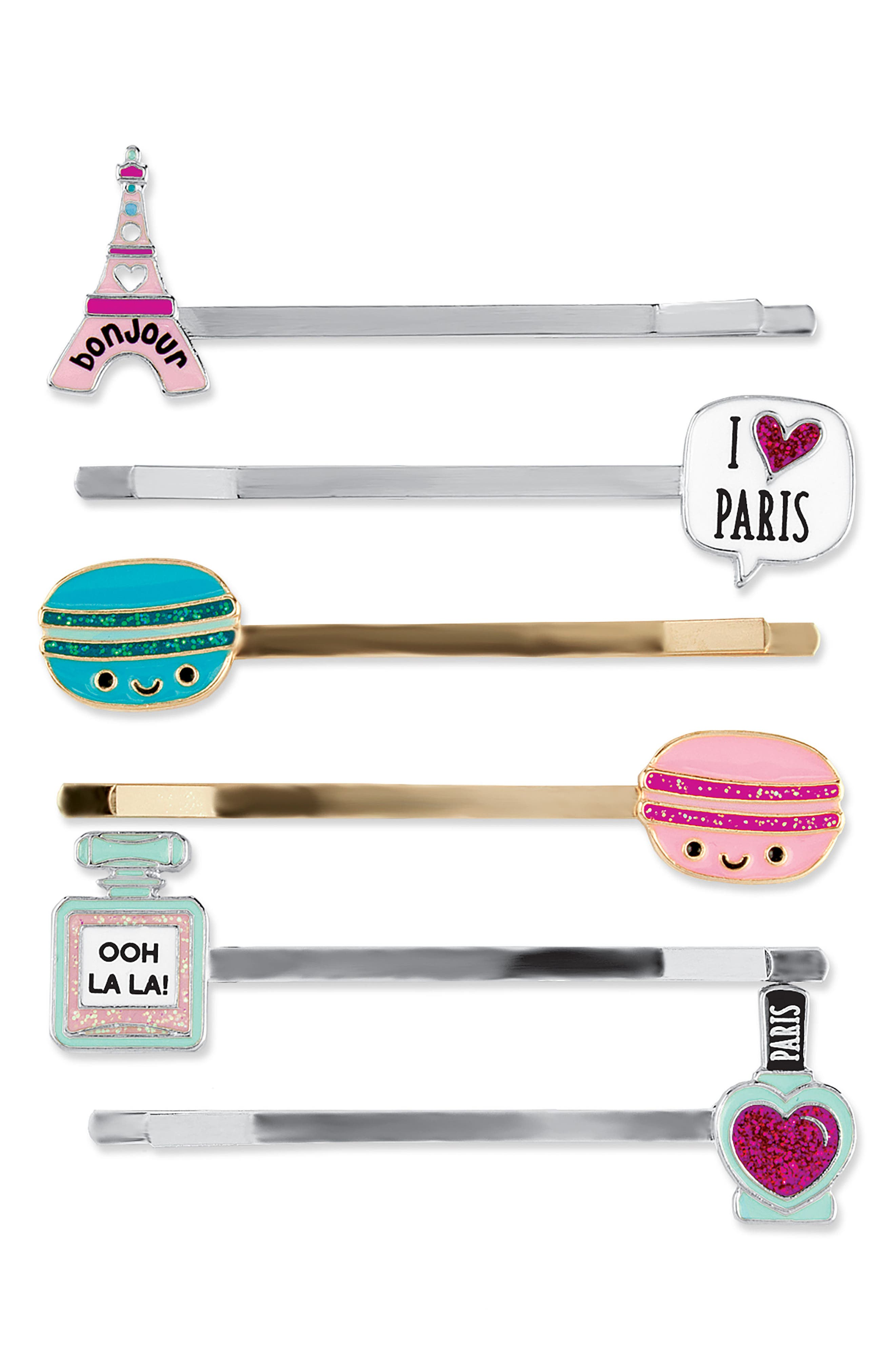 CHARM IT!<sup>®</sup> Party 6-Pack Parisian Bobby Pins,                         Main,                         color, Multi