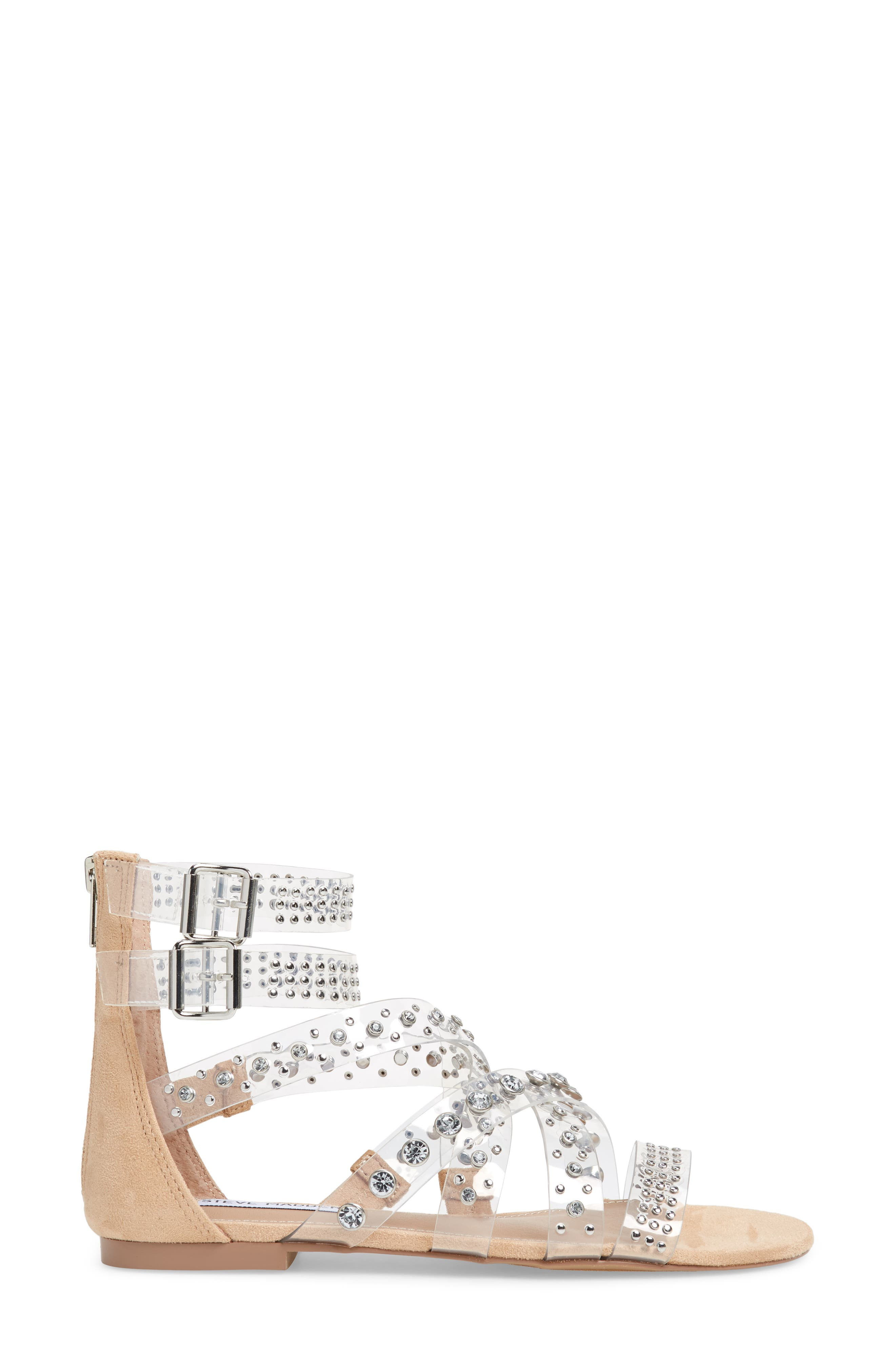 Shift Embellished Gladiator Sandal,                             Alternate thumbnail 3, color,                             Clear