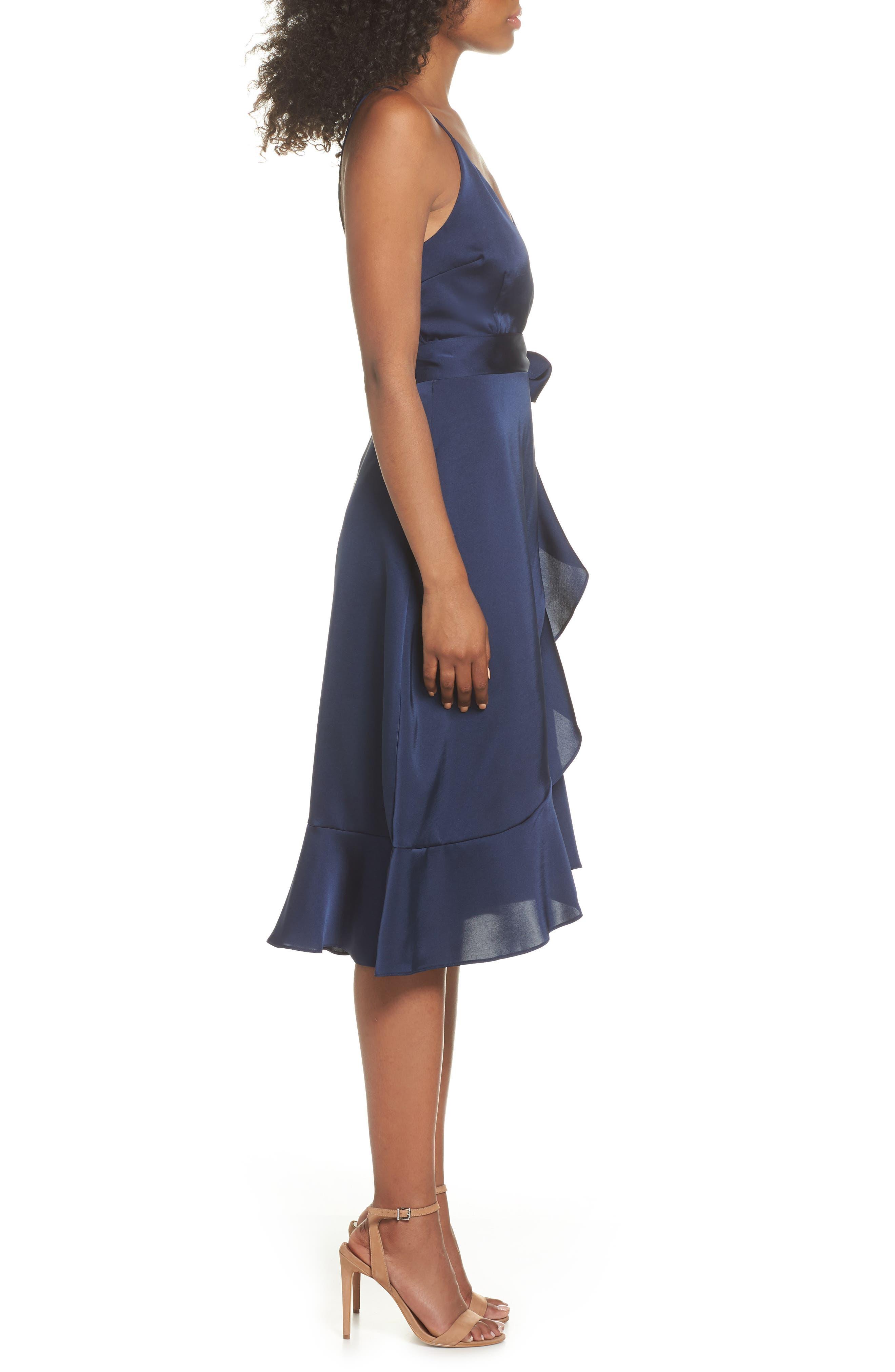 Marilyn Satin Faux Wrap Dress,                             Alternate thumbnail 3, color,                             Navy
