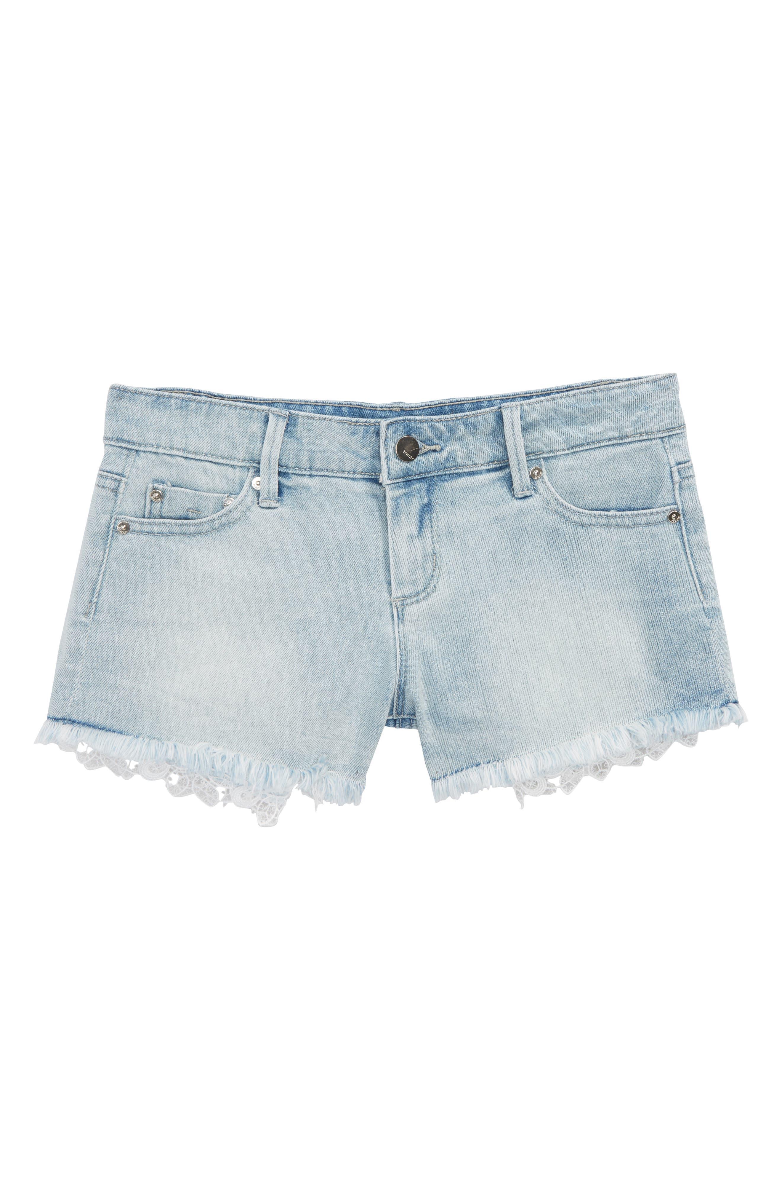 Lace Denim Shorts,                             Main thumbnail 1, color,                             Light Indigo