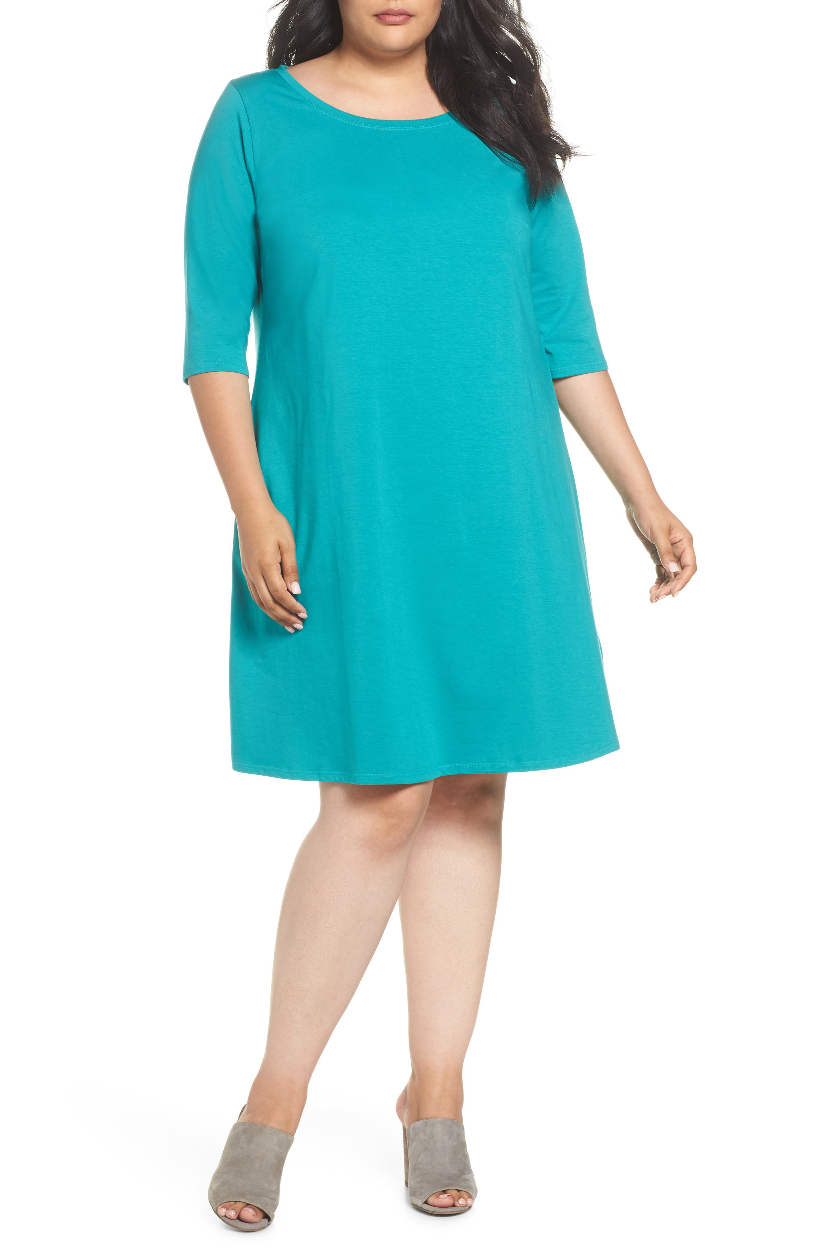 Stretch Organic Cotton Shift Dress,                             Main thumbnail 1, color,                             Turquoise
