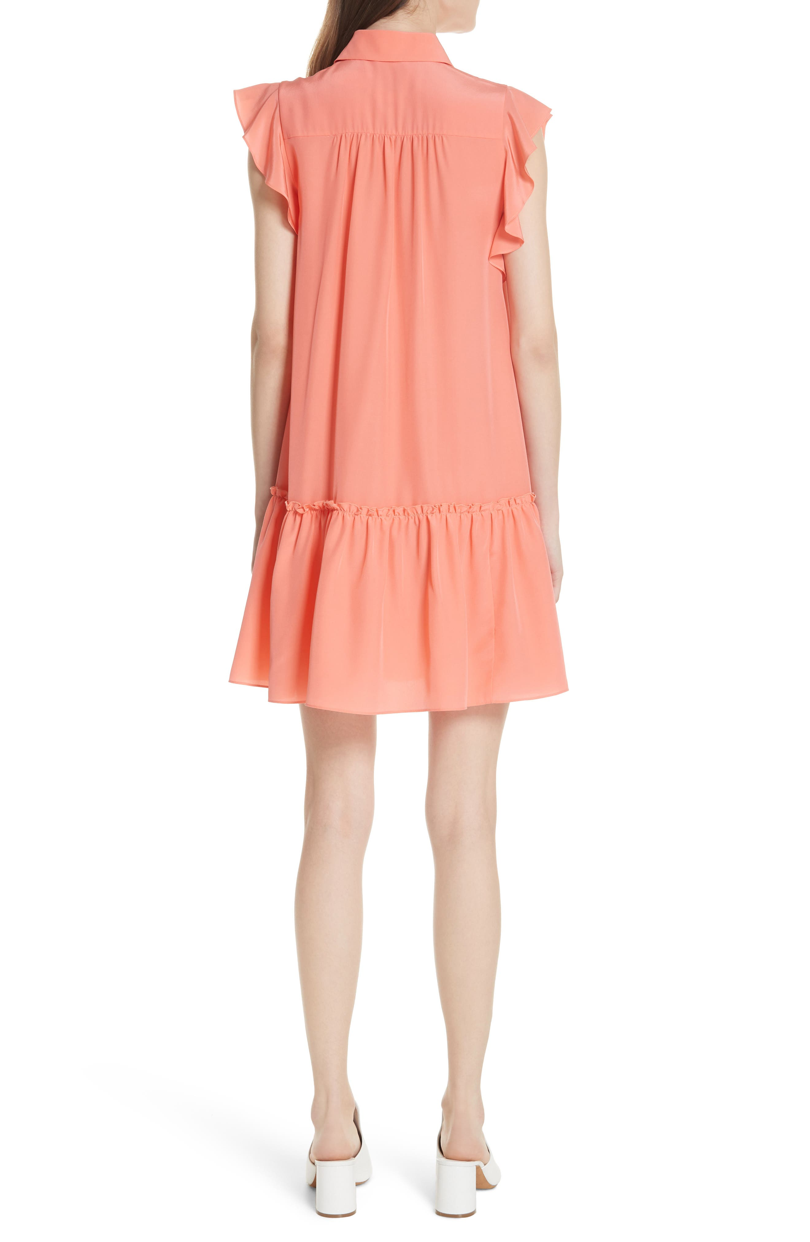 drop waist silk dress,                             Alternate thumbnail 2, color,                             Apricot Sorbet